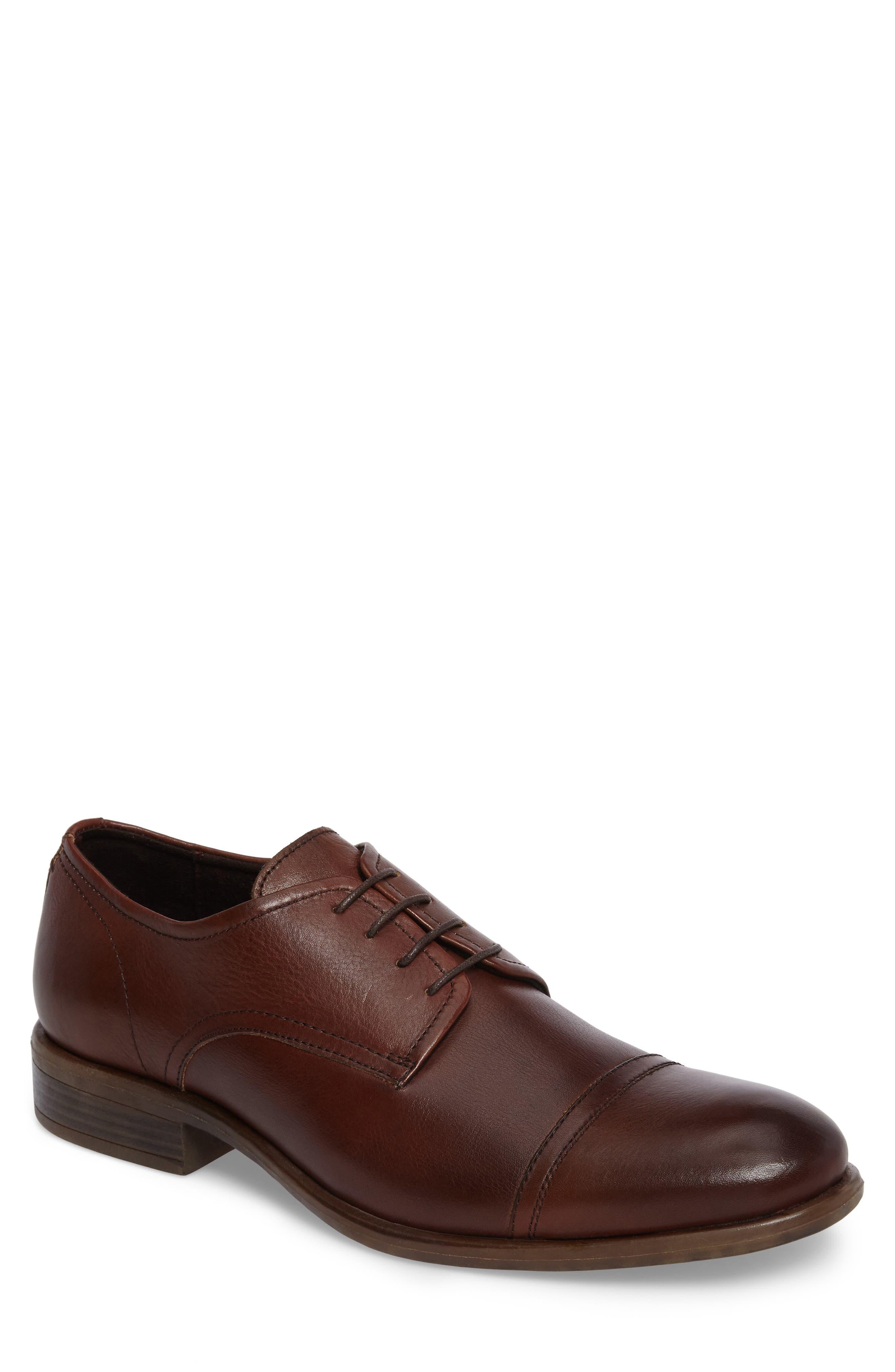 Cap Toe Derby,                         Main,                         color, Cognac Leather