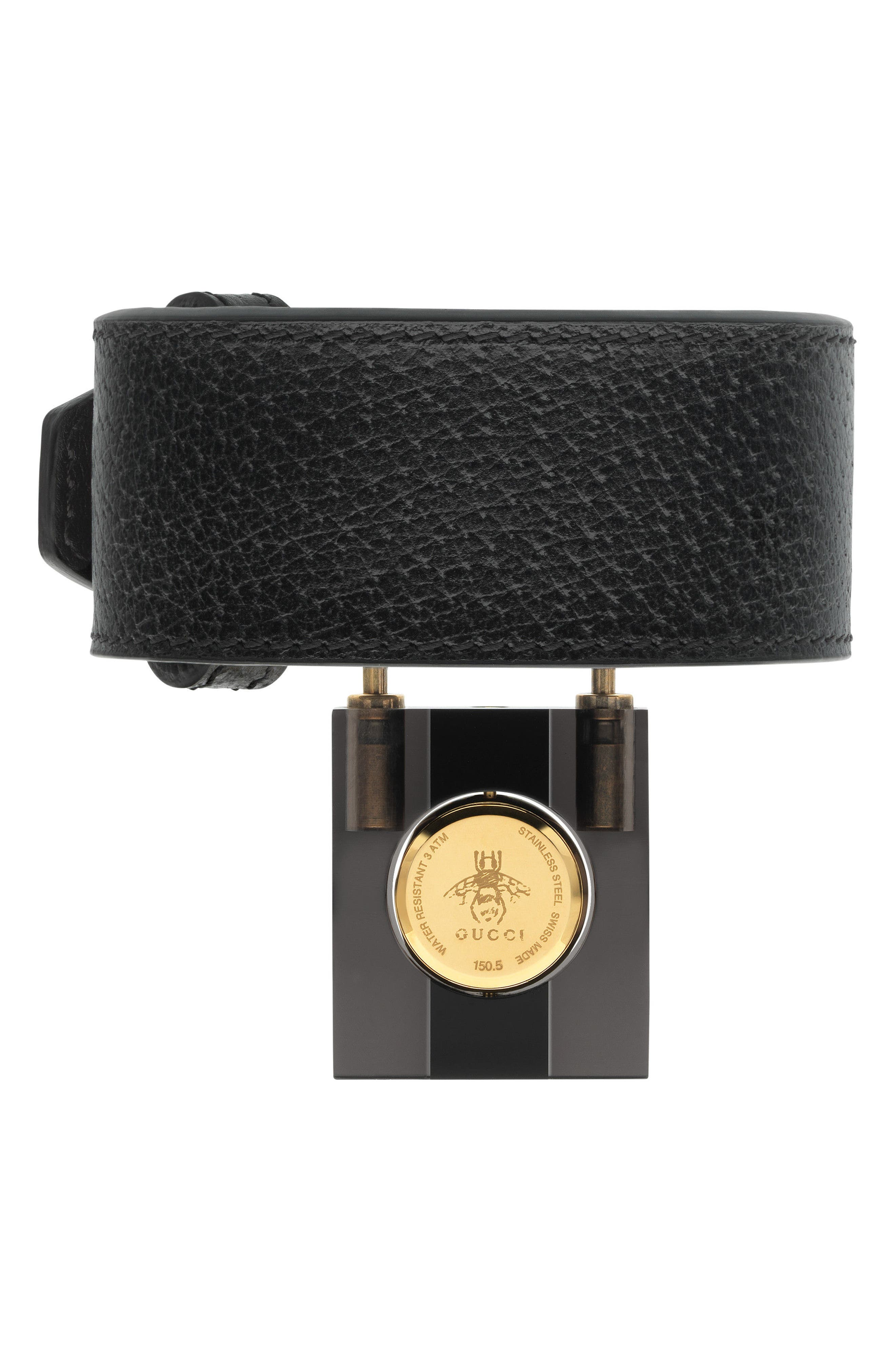 Twirl Small Leather Strap Padlock Watch, 17mm,                             Alternate thumbnail 3, color,                             Black/ Gold
