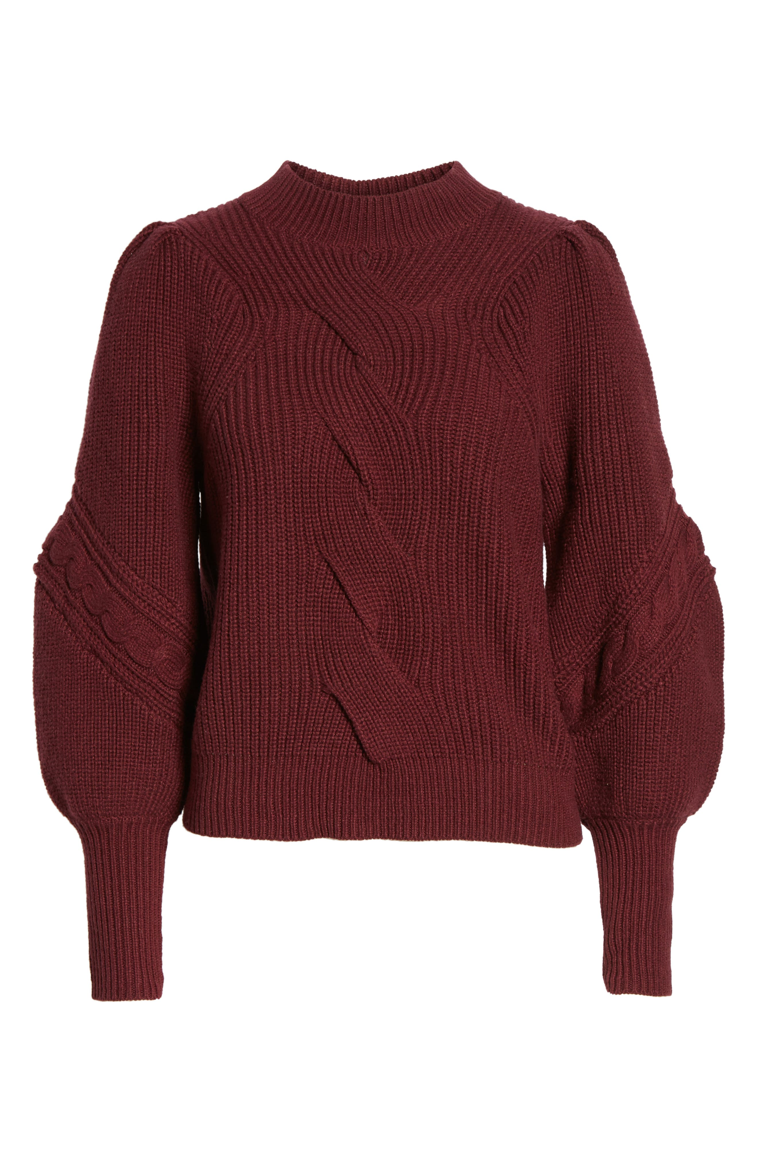 Cable Knit Puff Sleeve Sweater,                             Alternate thumbnail 6, color,                             Burgundy Royale