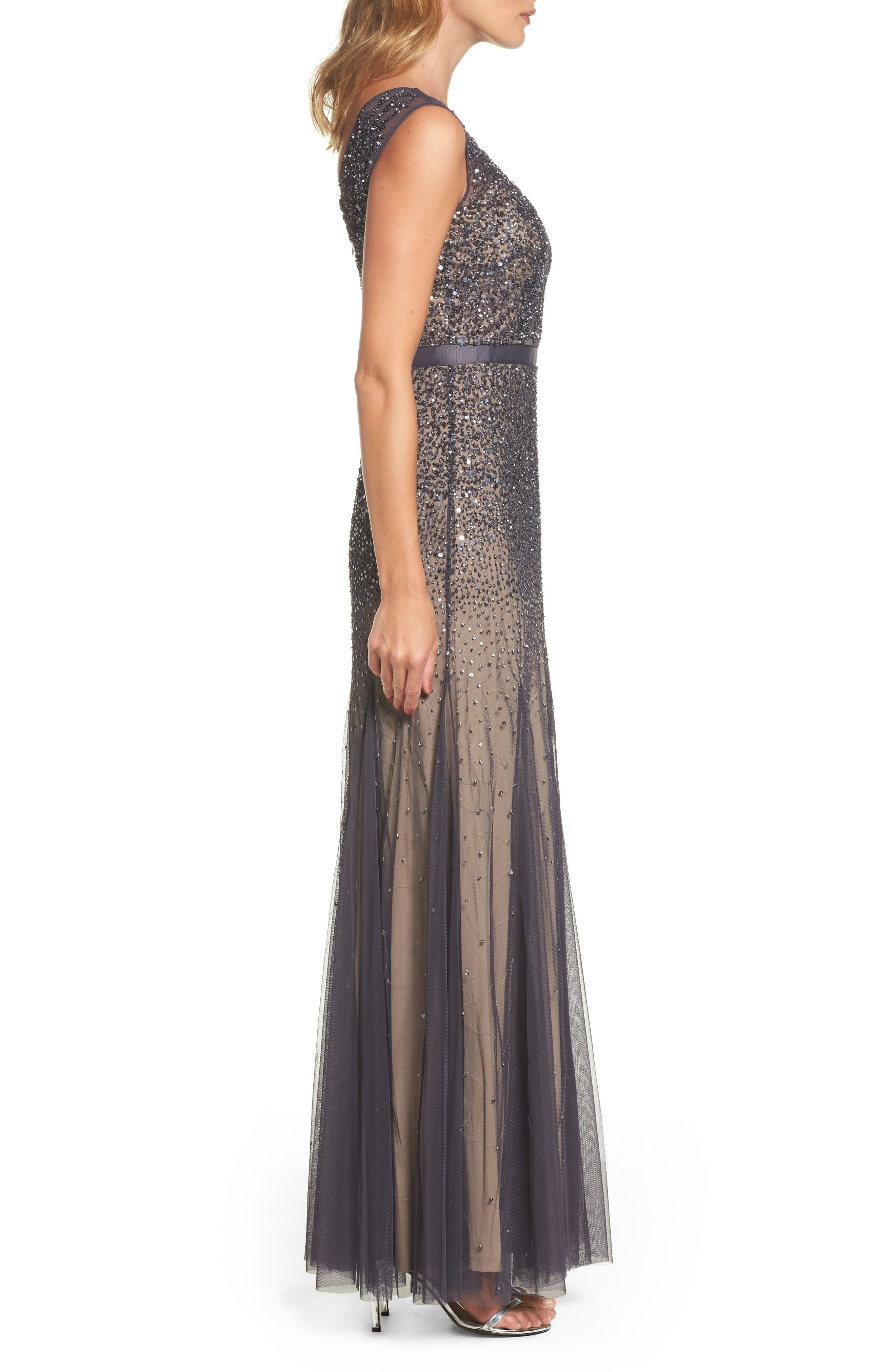 Alternate Image 3  - Adrianna Papell Beaded Chiffon Gown (Regular & Petite)
