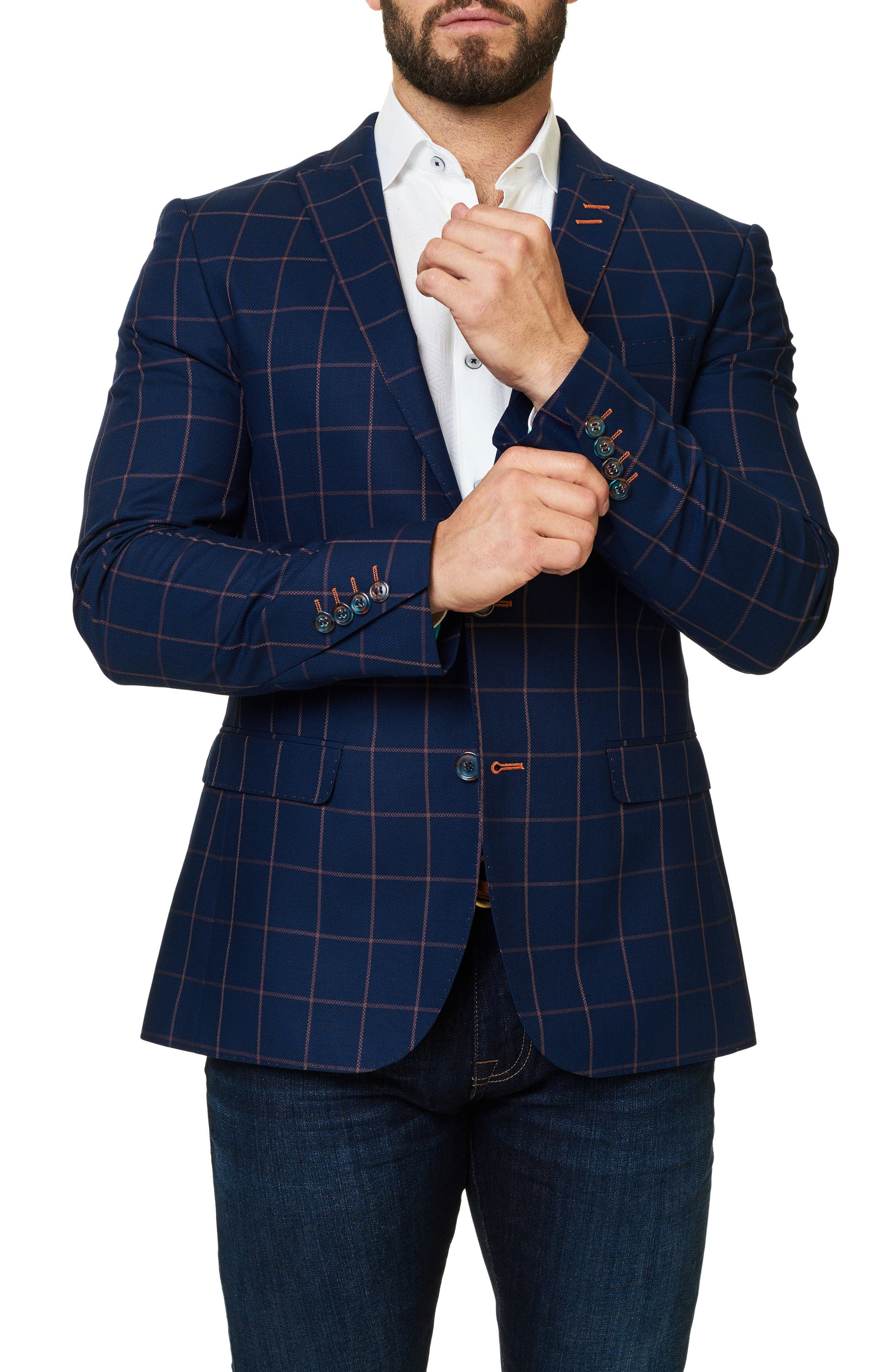 Descarte Windowpane Sport Coat,                             Alternate thumbnail 5, color,                             Medium Blue