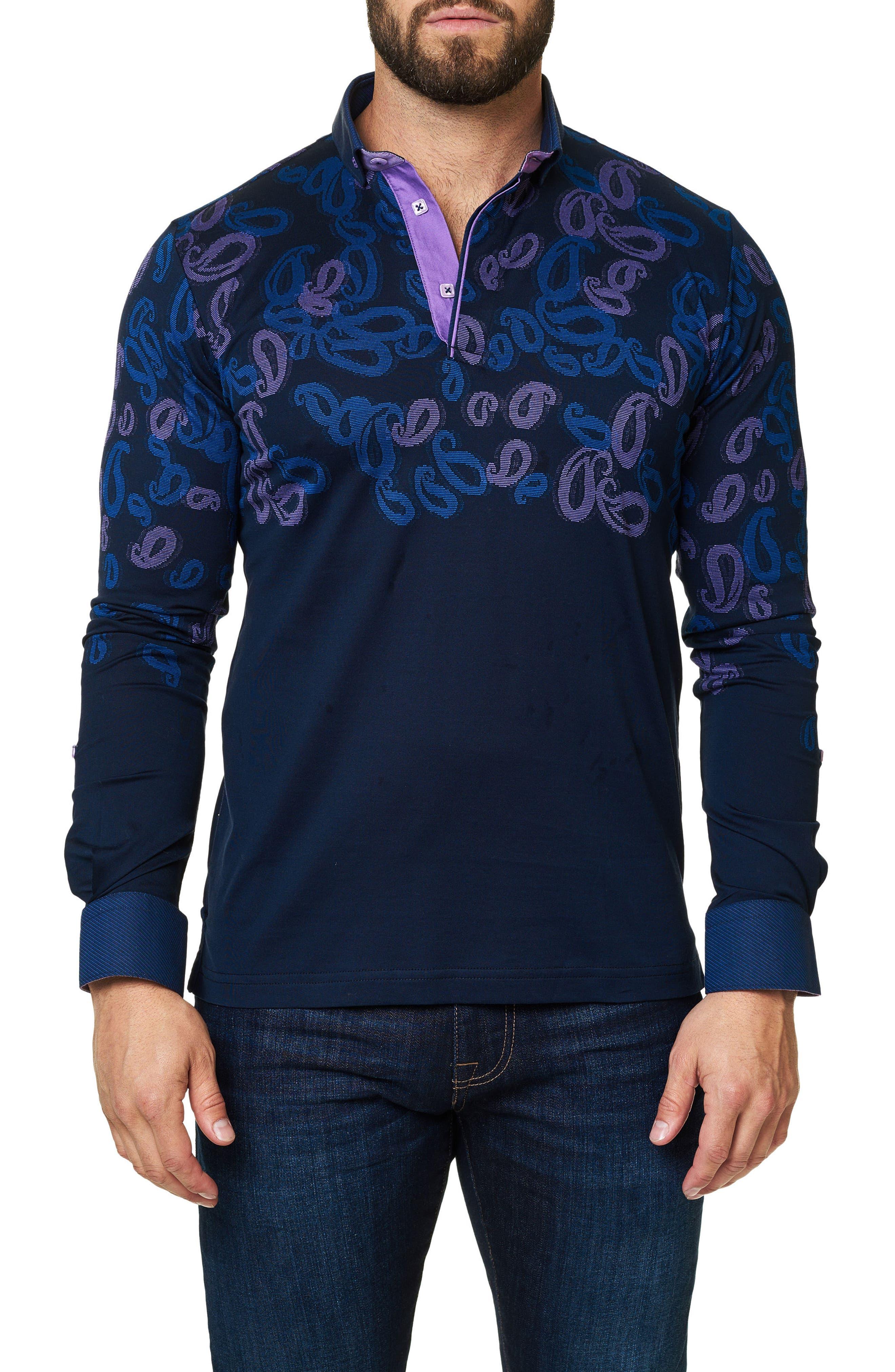 Paisley Long Sleeve Polo,                             Main thumbnail 1, color,                             Navy Blue