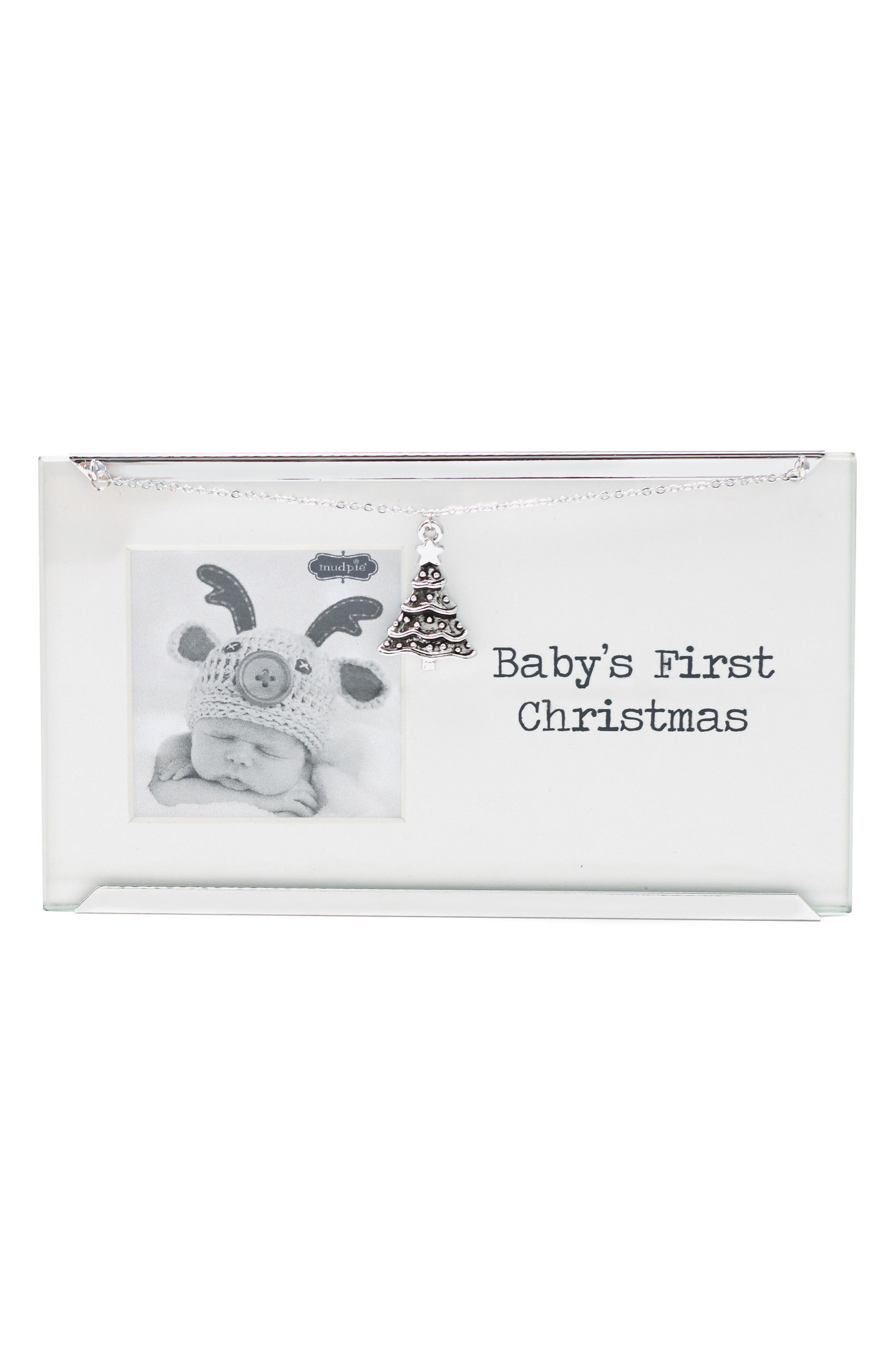 Baby's First Christmas Frame with Tree Charm,                             Main thumbnail 1, color,                             Silver