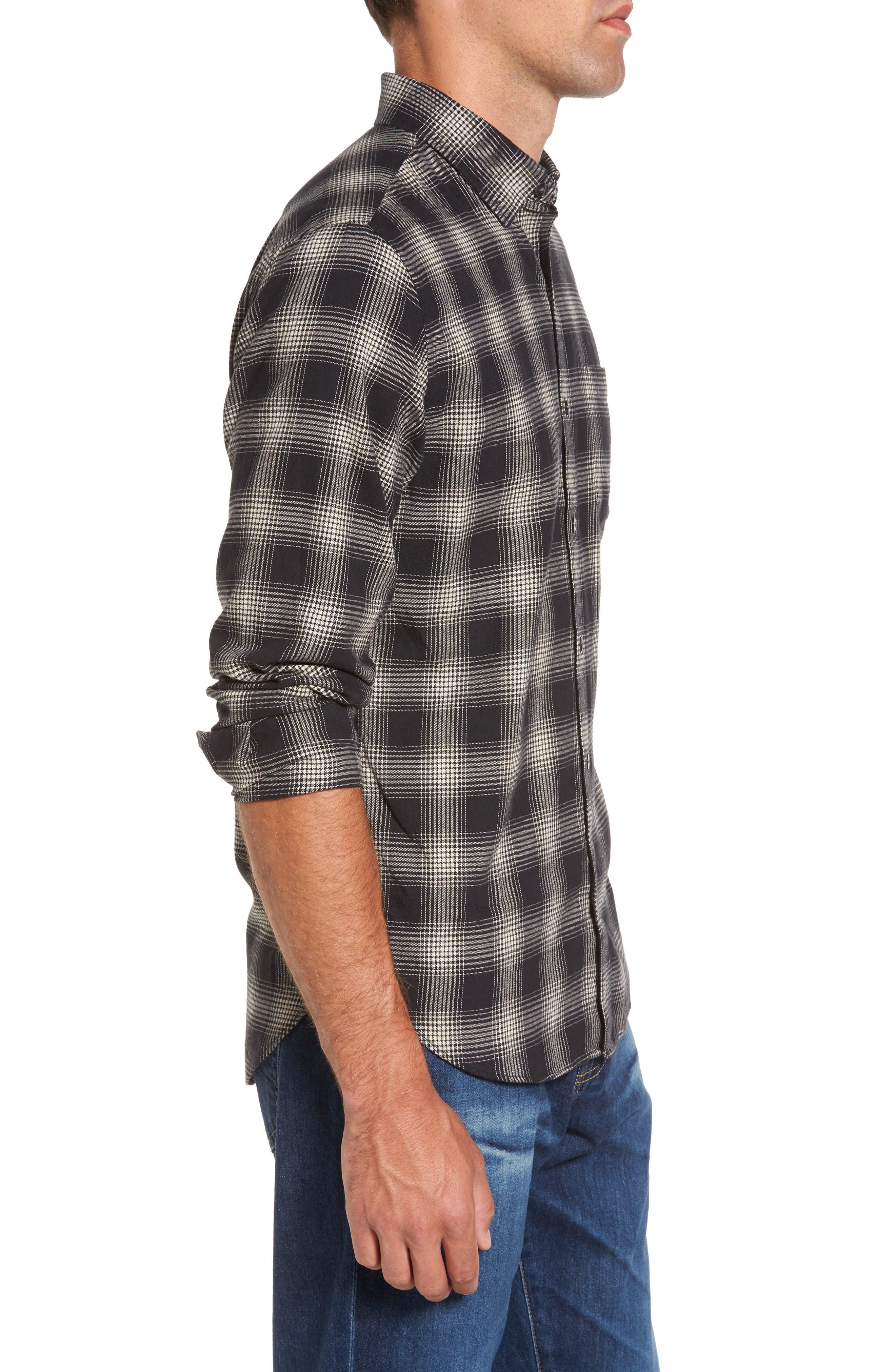 Slim Fit Plaid Brushed Twill Sport Shirt,                             Alternate thumbnail 3, color,                             Black/ Brown Plaid