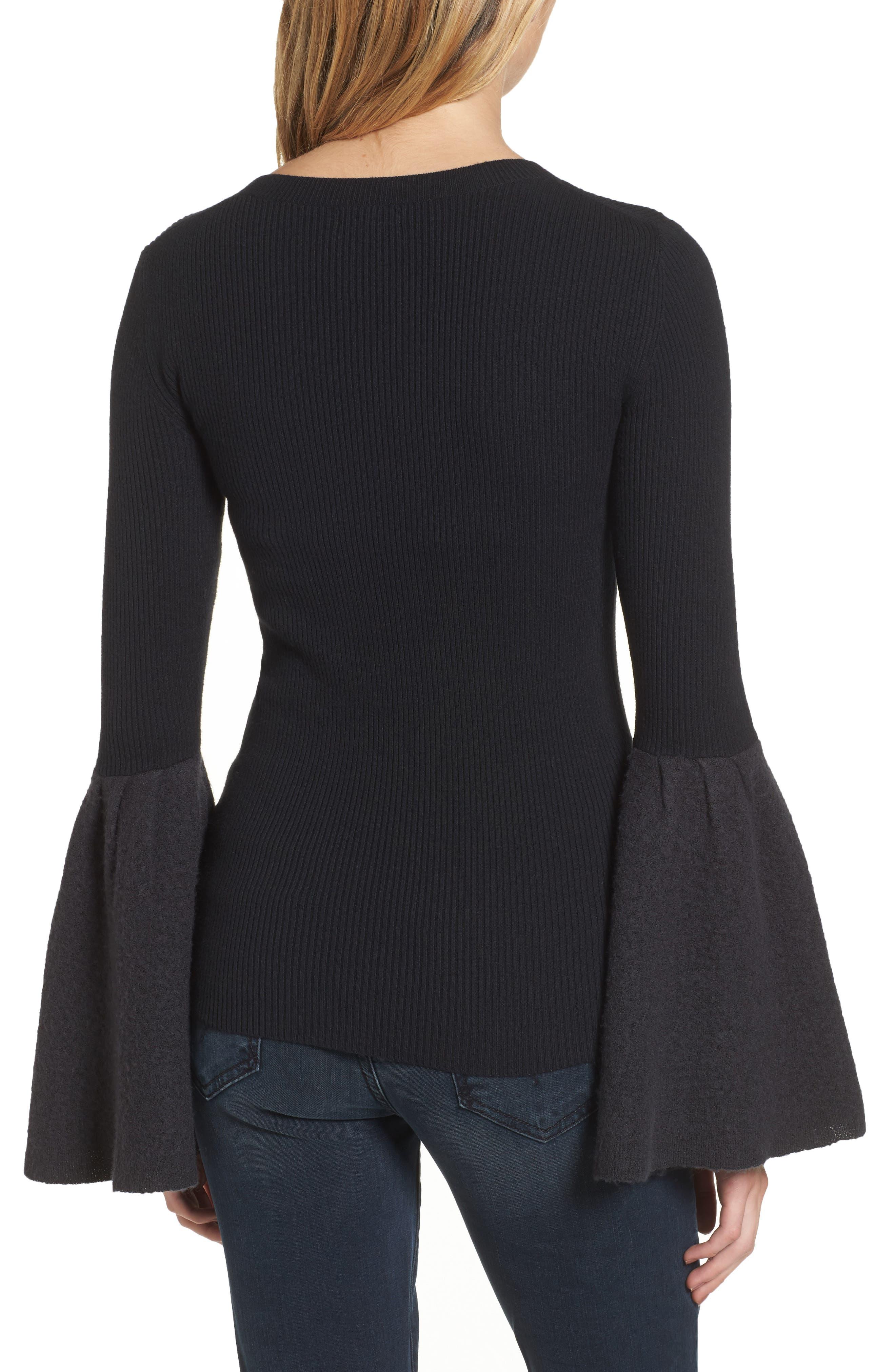 Bell Sleeve Sweater,                             Alternate thumbnail 2, color,                             Black- Grey Dark Heather Combo