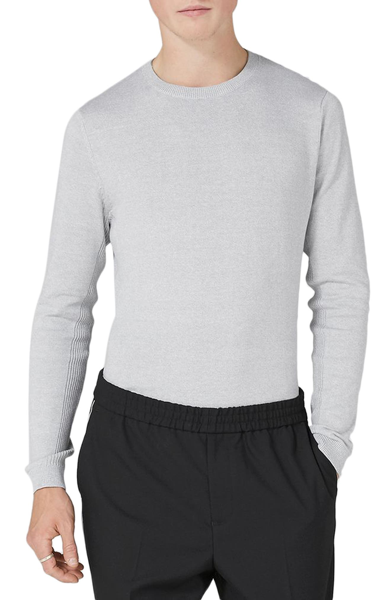 Side Ribbed Slim Fit Sweater,                             Main thumbnail 1, color,                             Grey