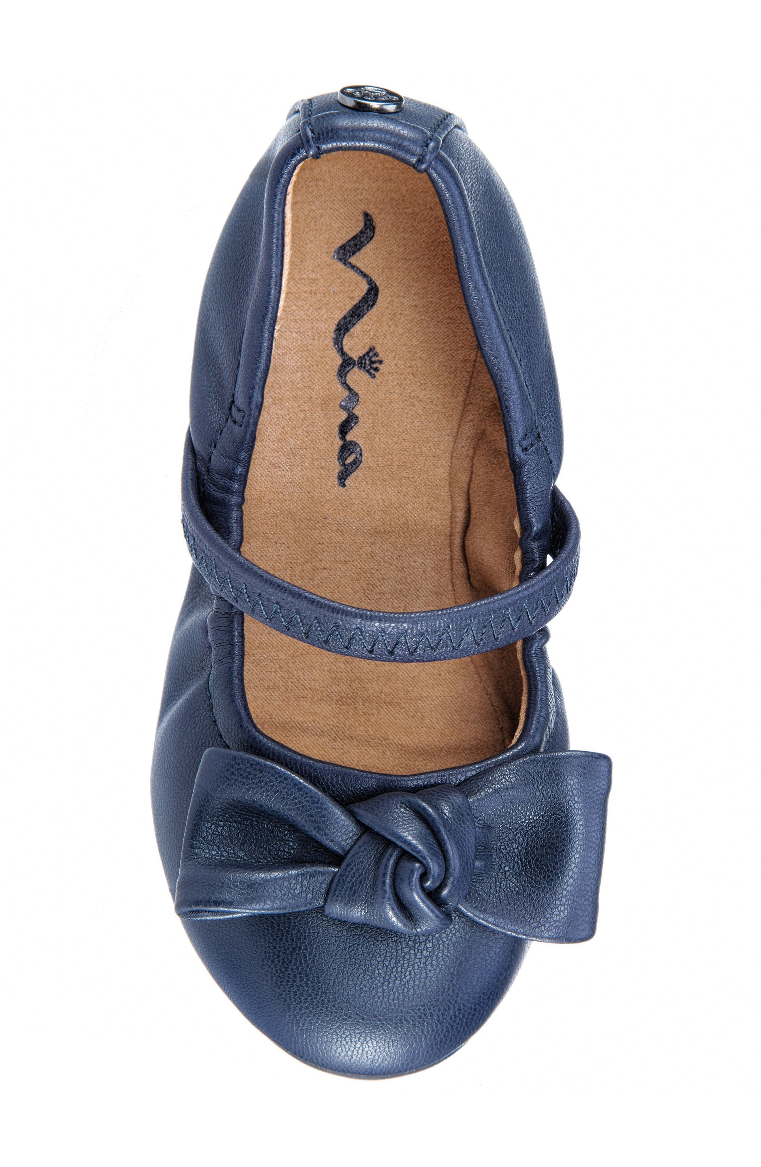 Karla Bow Ballet Flat,                             Alternate thumbnail 5, color,                             Navy Smooth Blue