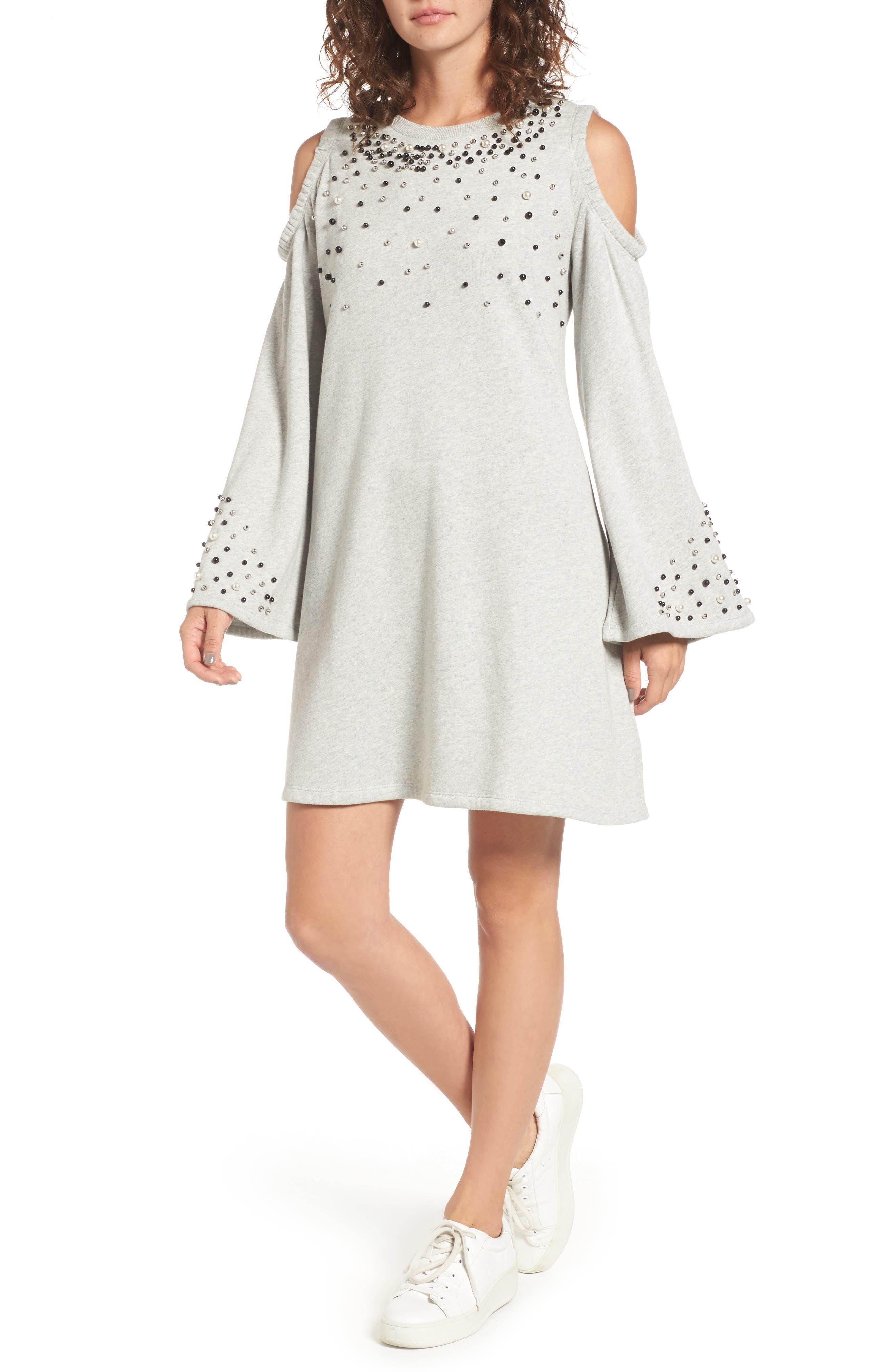 Embellished Cold Shoulder Sweatshirt Dress,                         Main,                         color, Grey Pearl Heather