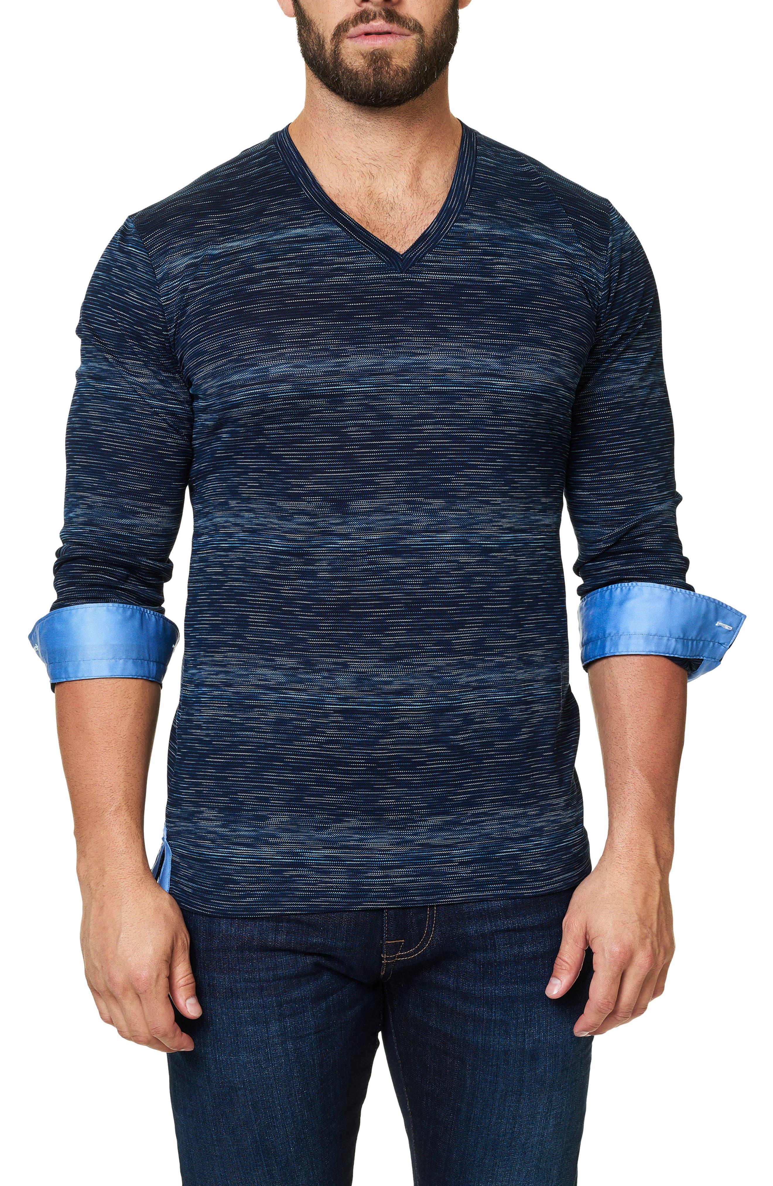 Stripe Long Sleeve V-Neck,                             Alternate thumbnail 4, color,                             Navy Blue