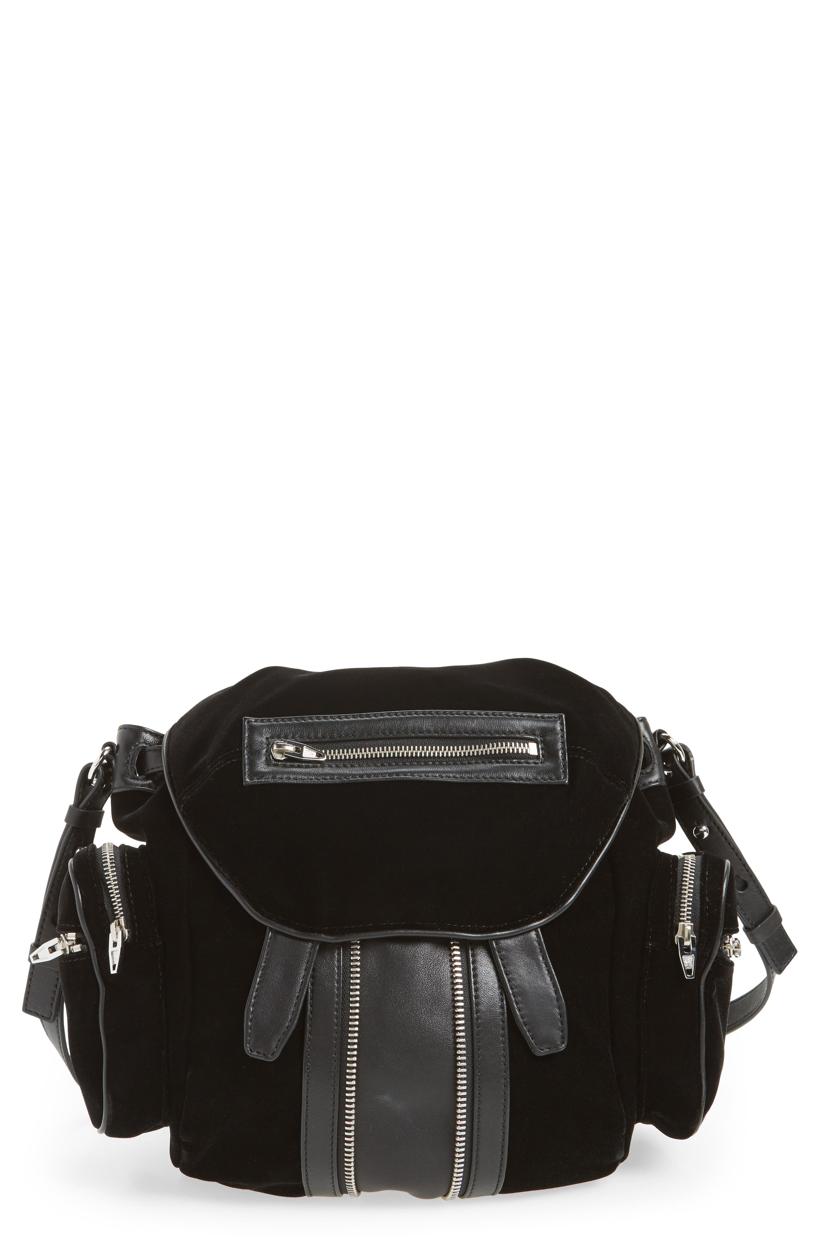 Mini Marti Velvet & Lambskin Leather Backpack,                             Main thumbnail 1, color,                             Black