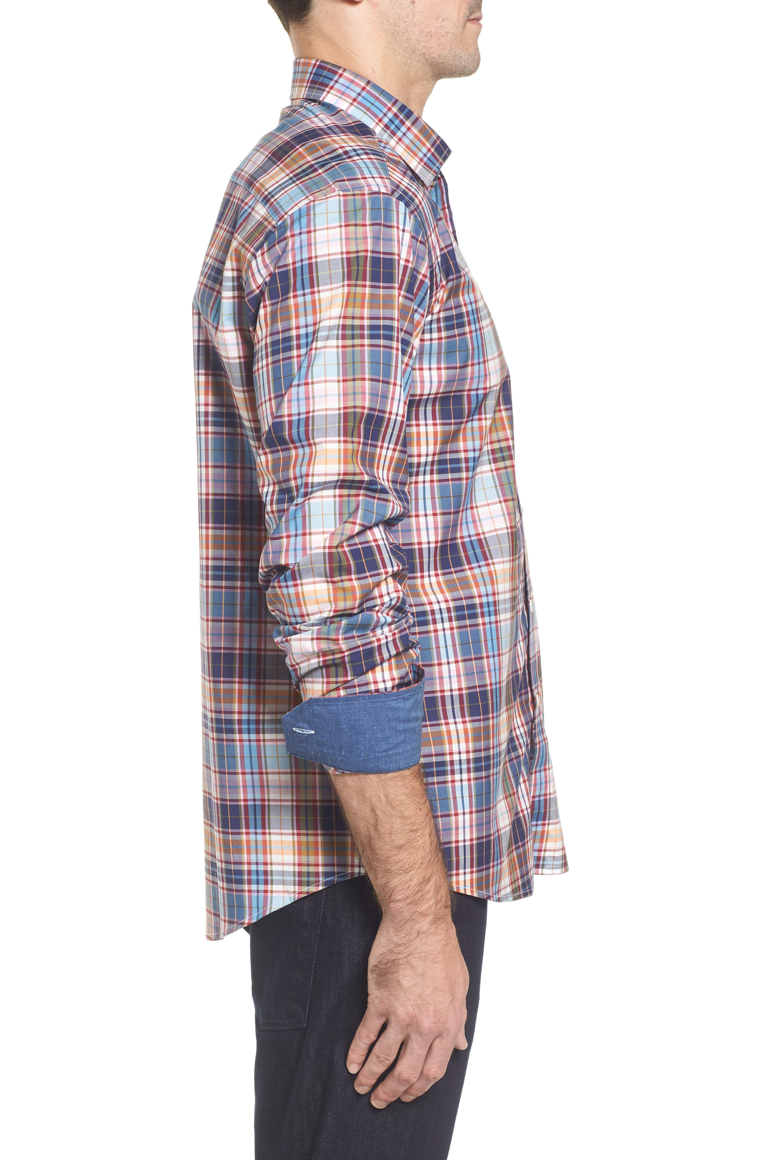 Alternate Image 3  - Bugatchi Classic Fit Plaid Sport Shirt