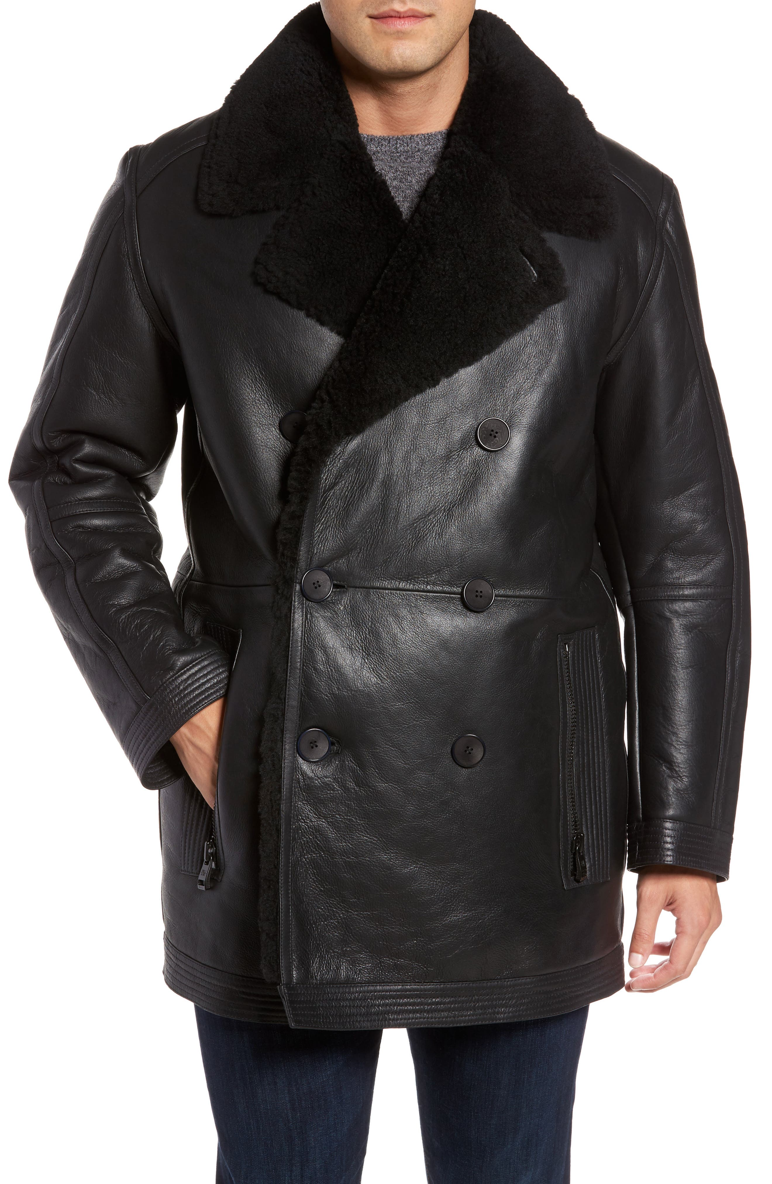 Marc New York Frontier Double Breasted Genuine Shearling Jacket,                         Main,                         color, Black