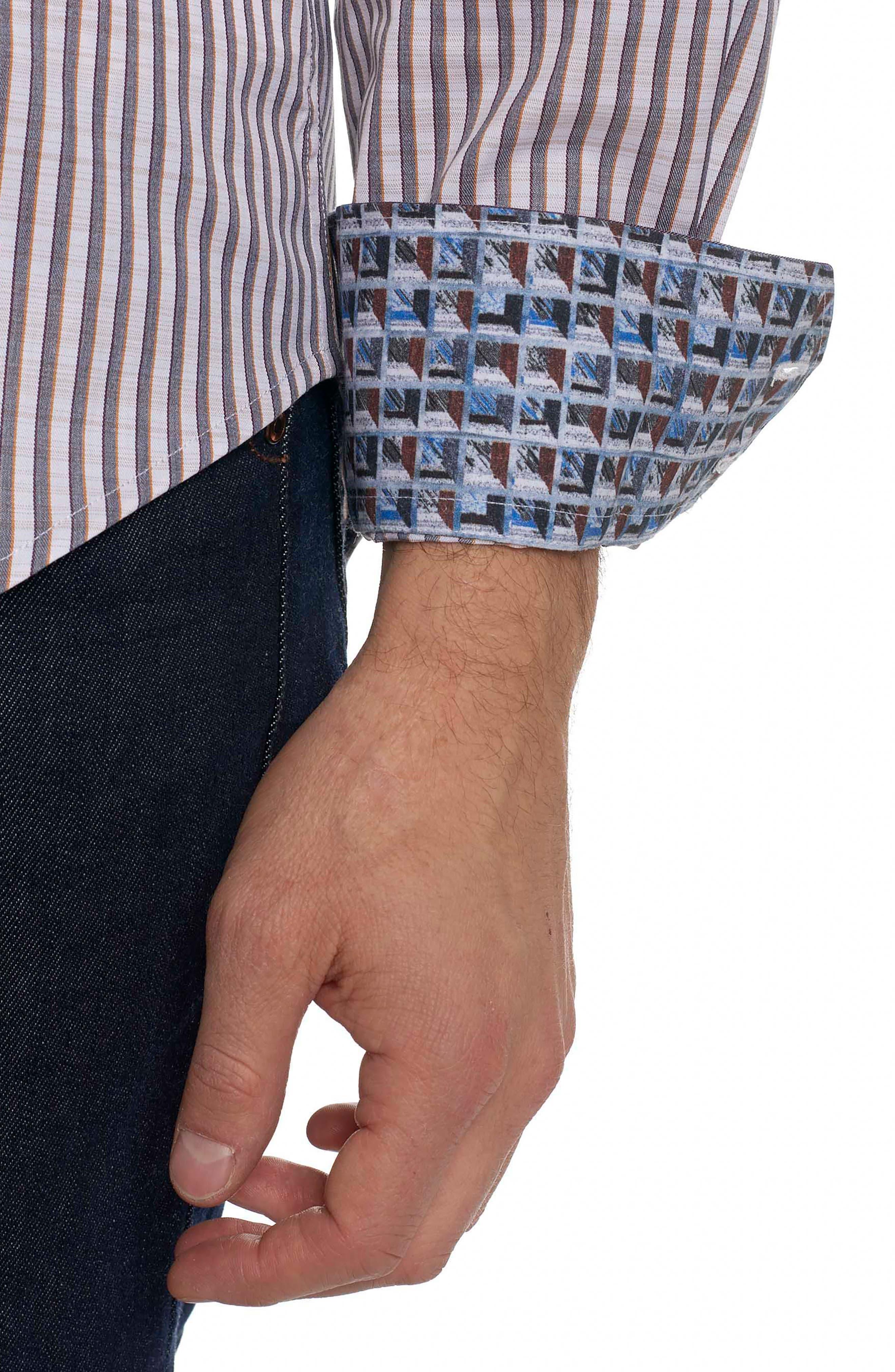 Marion Classic Fit Stripe Sport Shirt,                             Alternate thumbnail 4, color,                             Cream