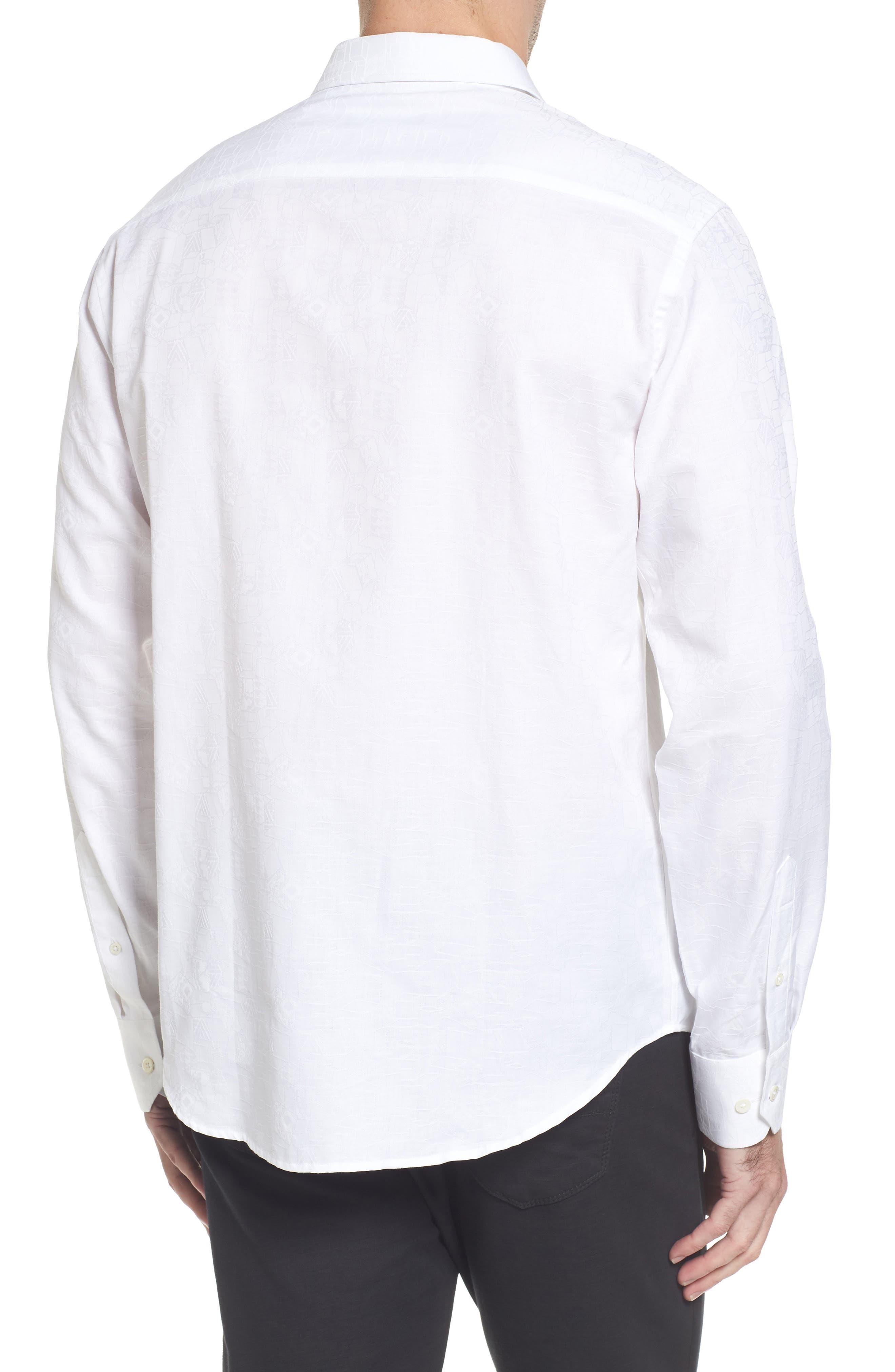 Classic Fit Jacquard Sport Shirt,                             Alternate thumbnail 2, color,                             White