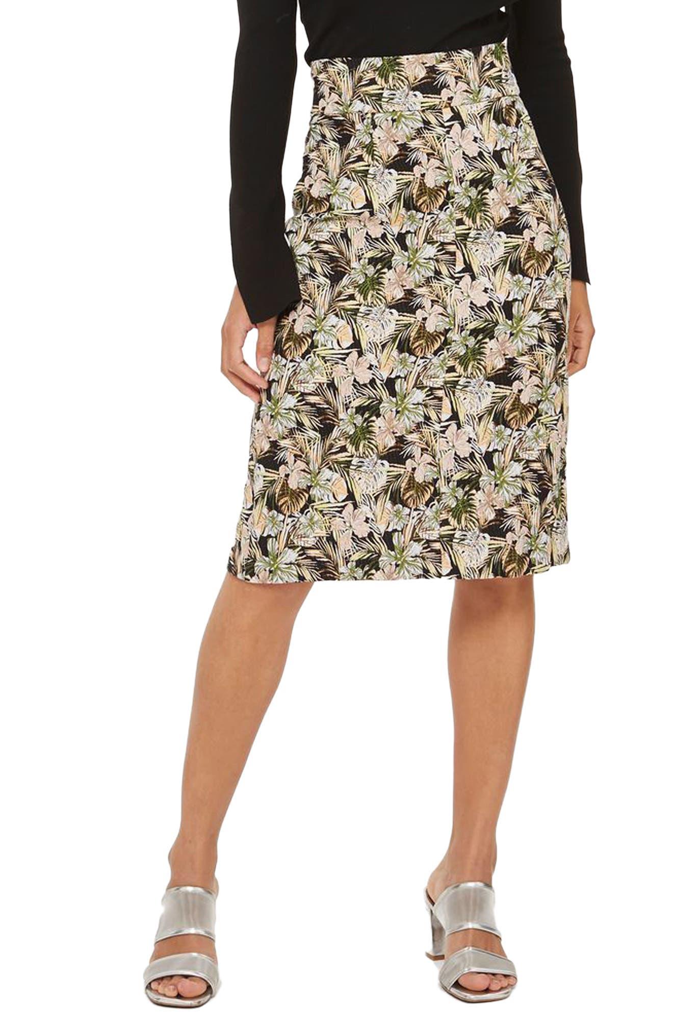 Topshop Floral Palm Print Pencil Skirt