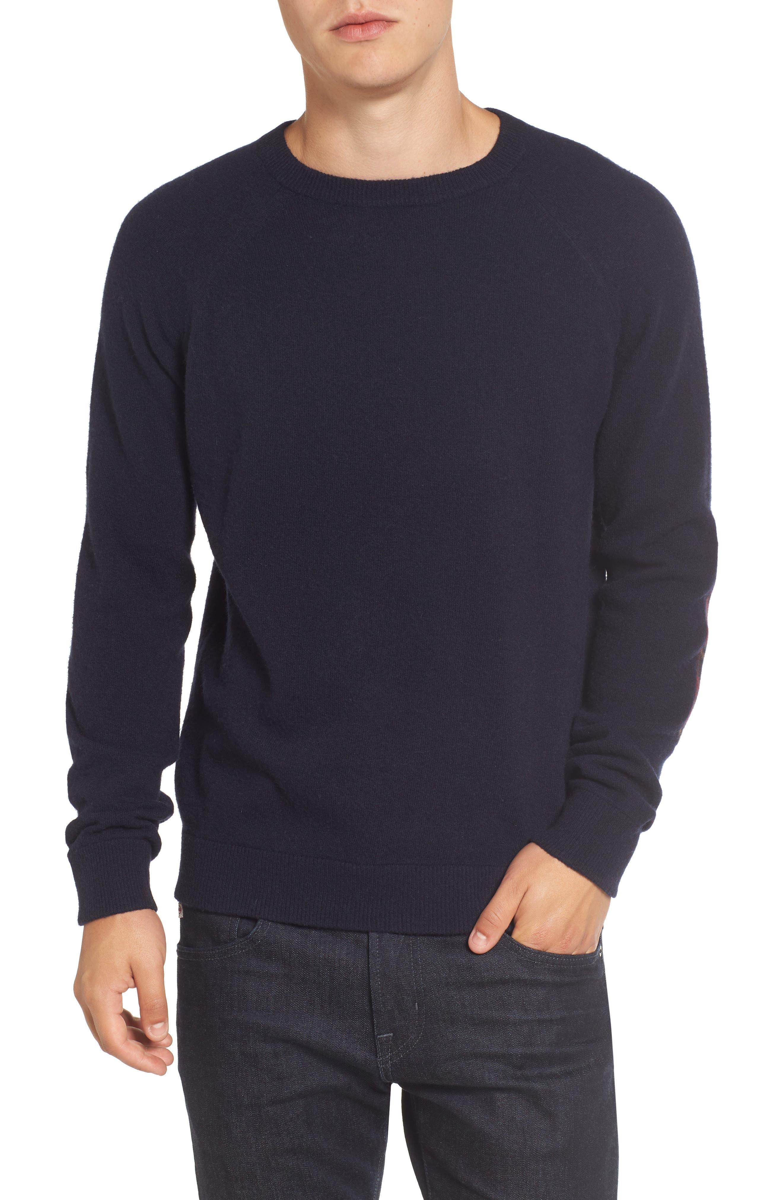 Crewneck Wool Sweater,                         Main,                         color, Marine Blue/ Tartan