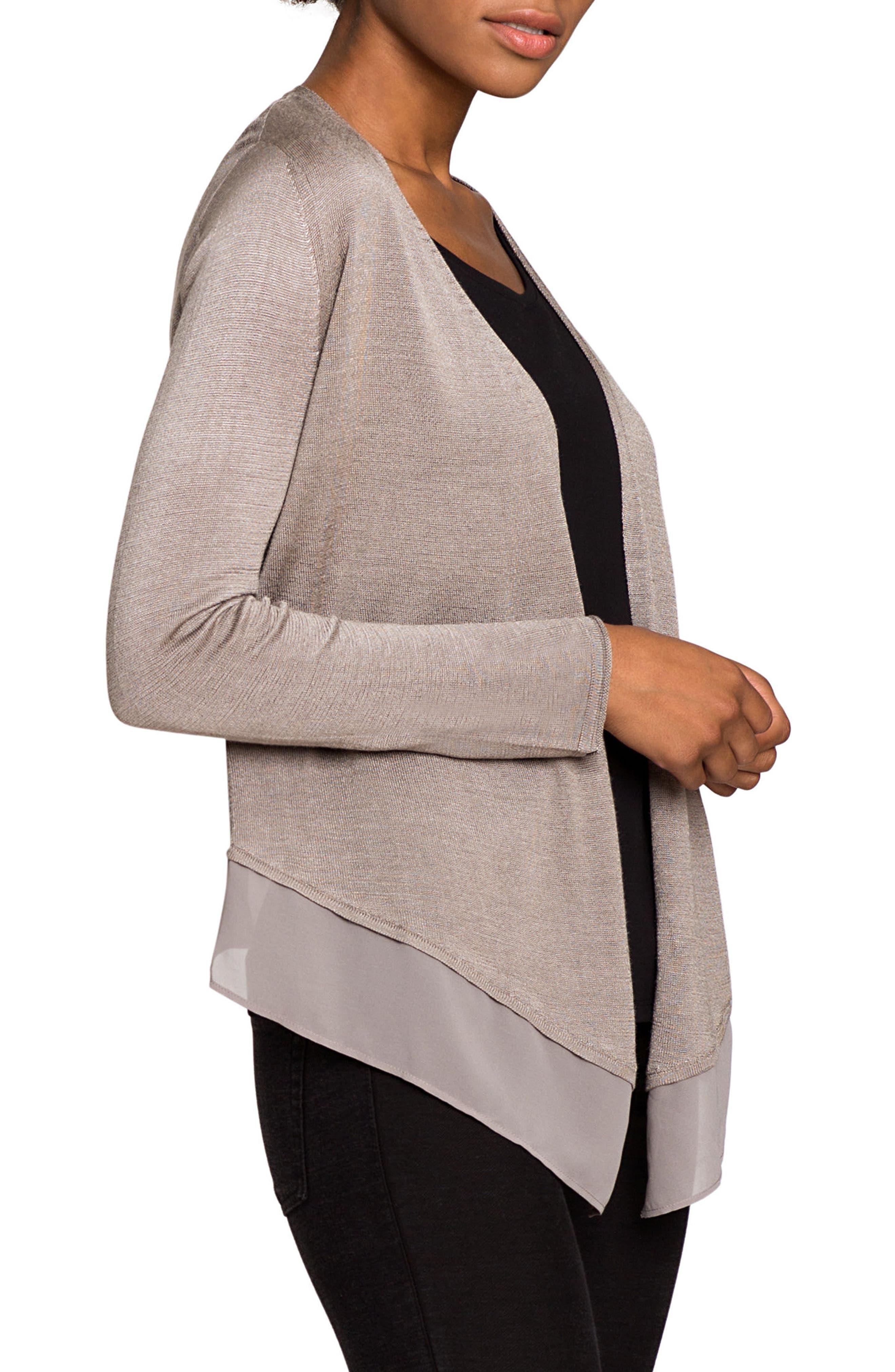 Alternate Image 4  - NIC+ZOE Paired Up Silk Blend Cardigan (Regular & Petite)