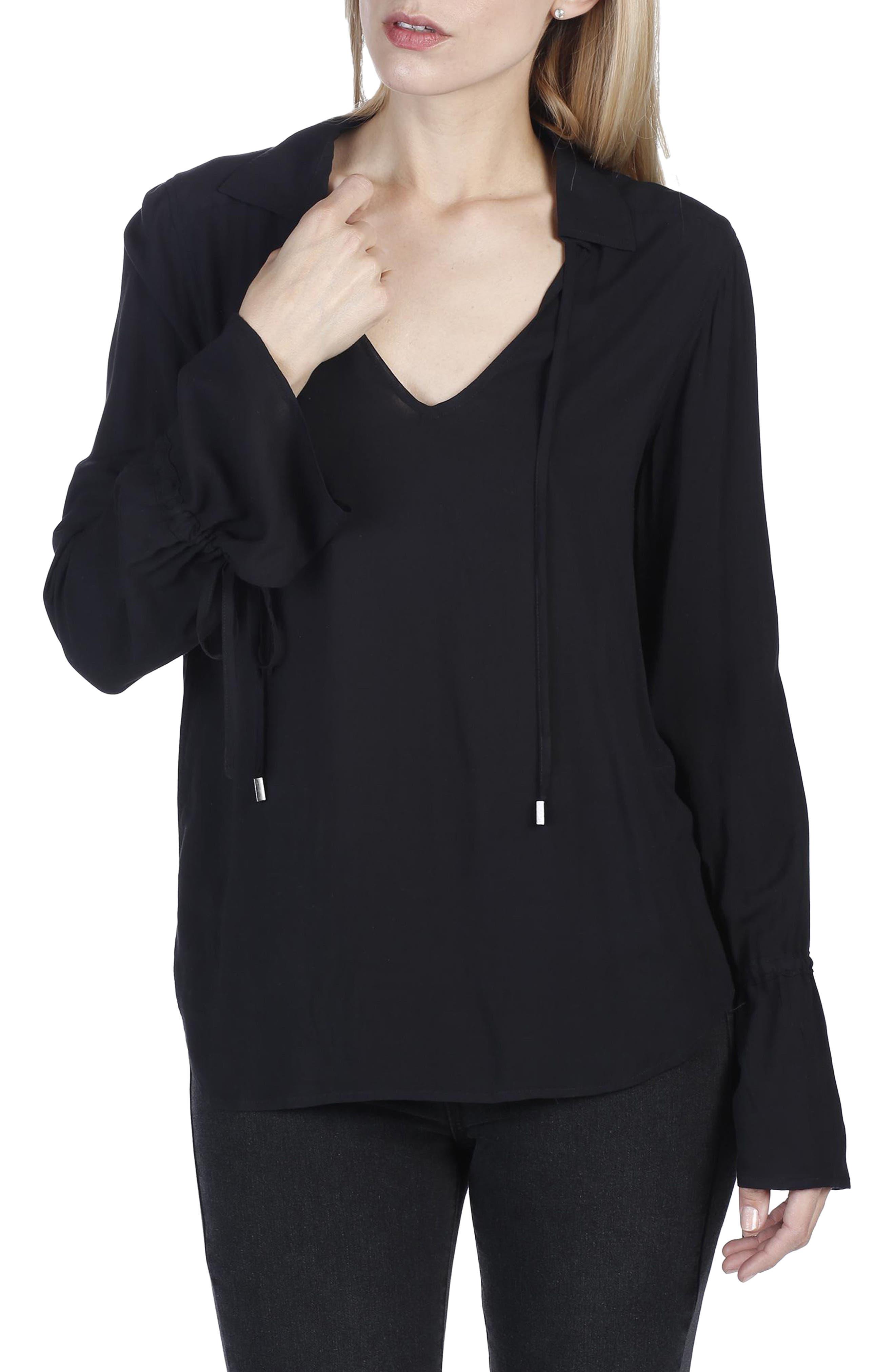 Calissa Split Neck Shirt,                         Main,                         color, Black
