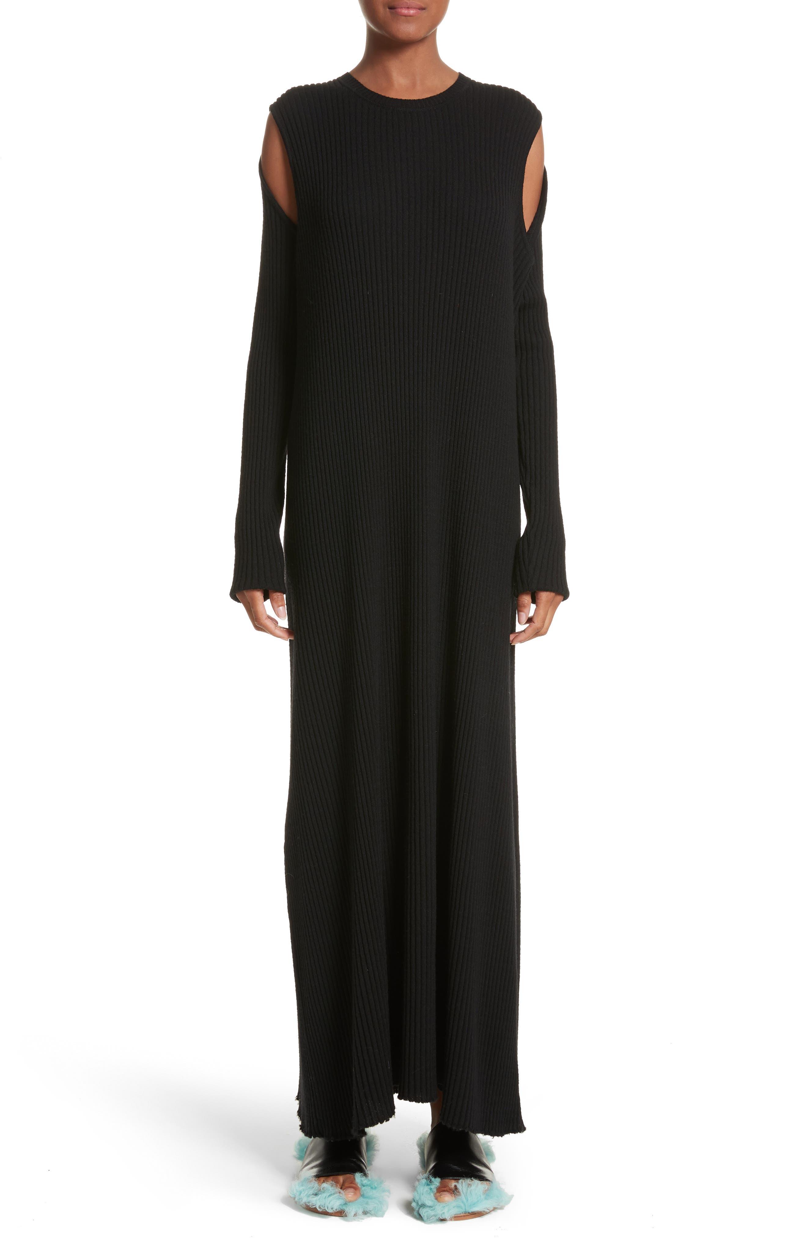 Marques'Almeida Ribbed Cold Shoulder Maxi Dress,                         Main,                         color, Black