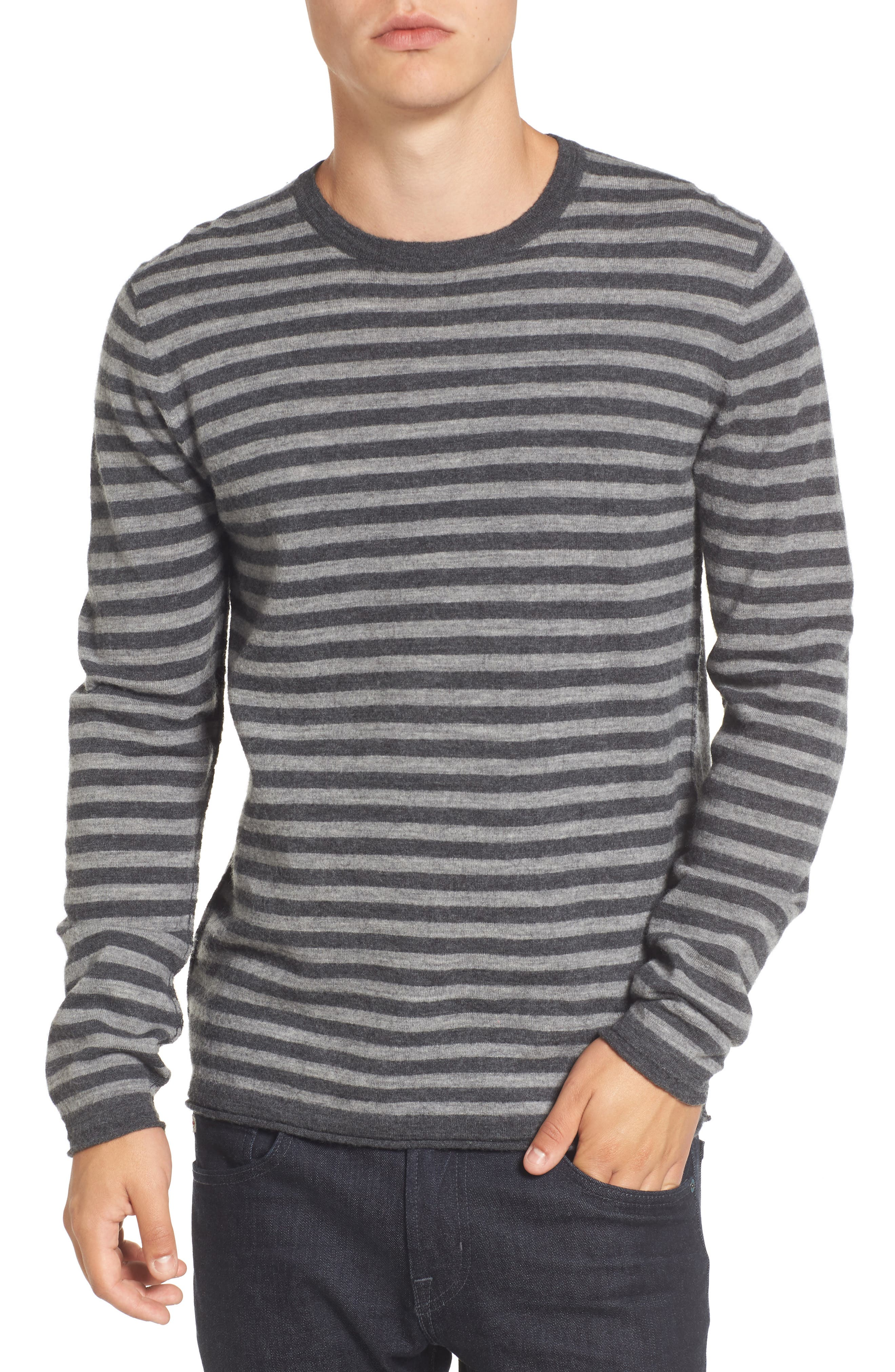 Double Stripe Wool Sweater,                         Main,                         color, Grey Melange/ Mid Grey