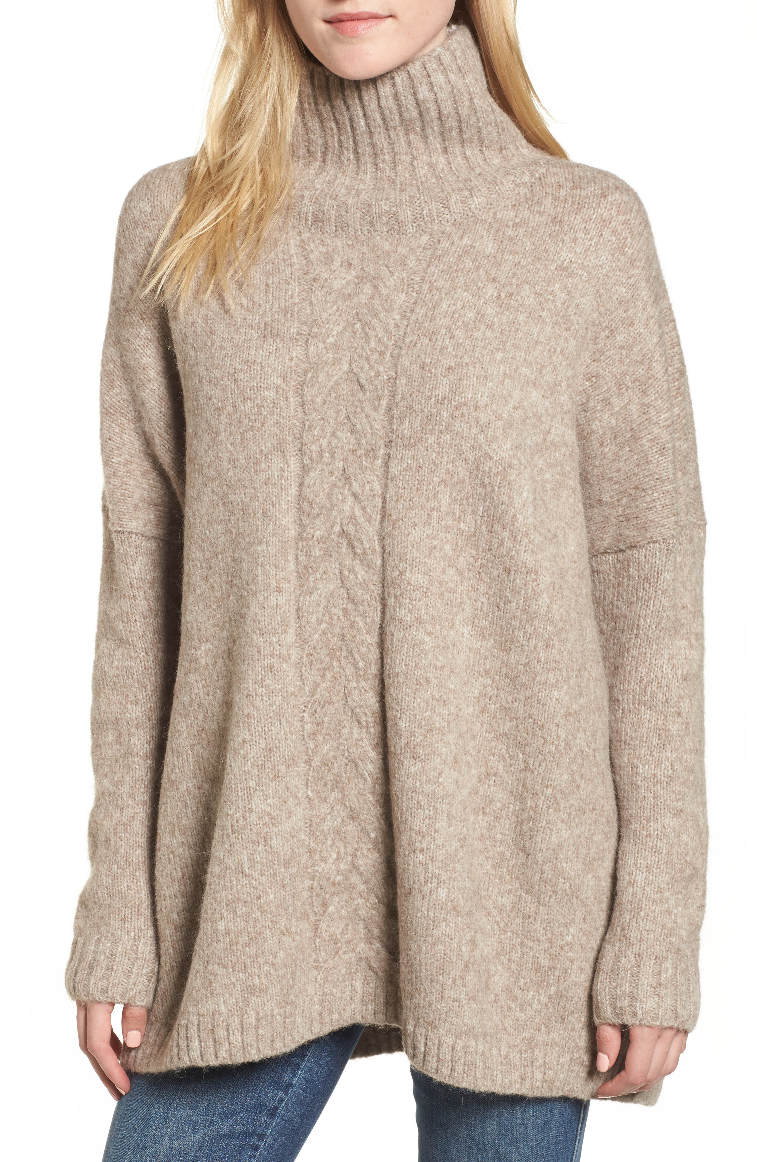 Ora Mock Neck Sweater,                         Main,                         color, Silver Mink Multi