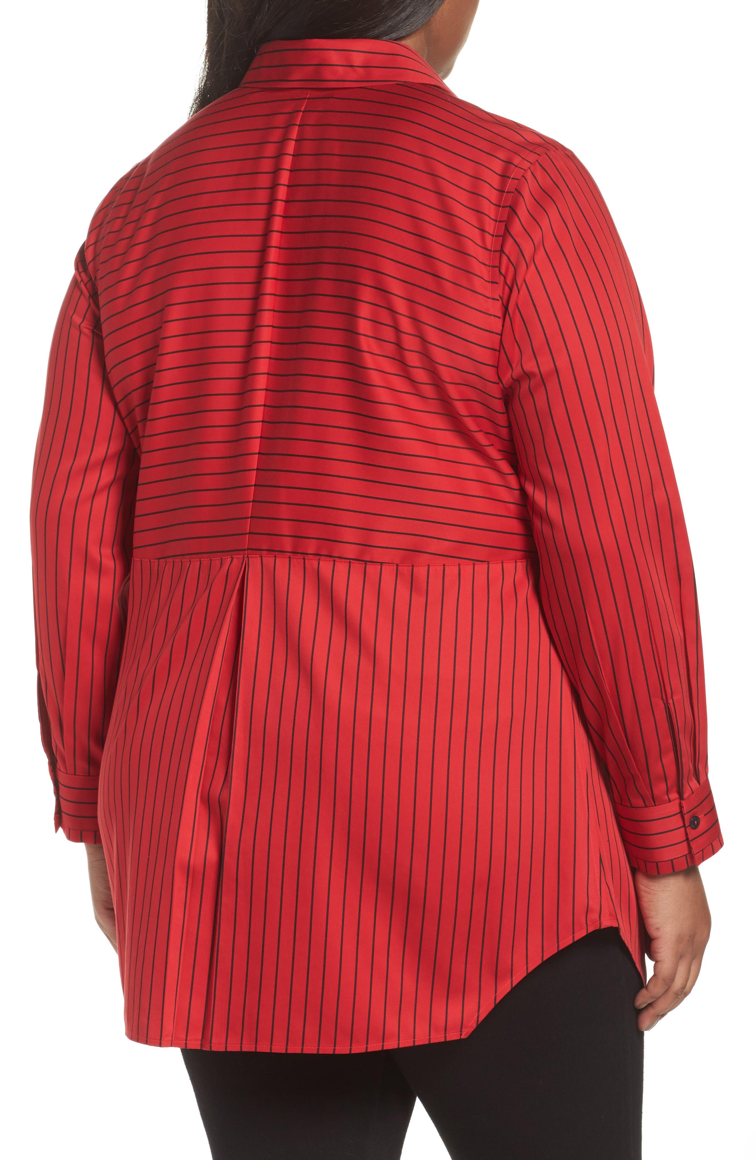 Alternate Image 2  - Foxcroft Gina Holiday Stripe Shirt (Plus Size)