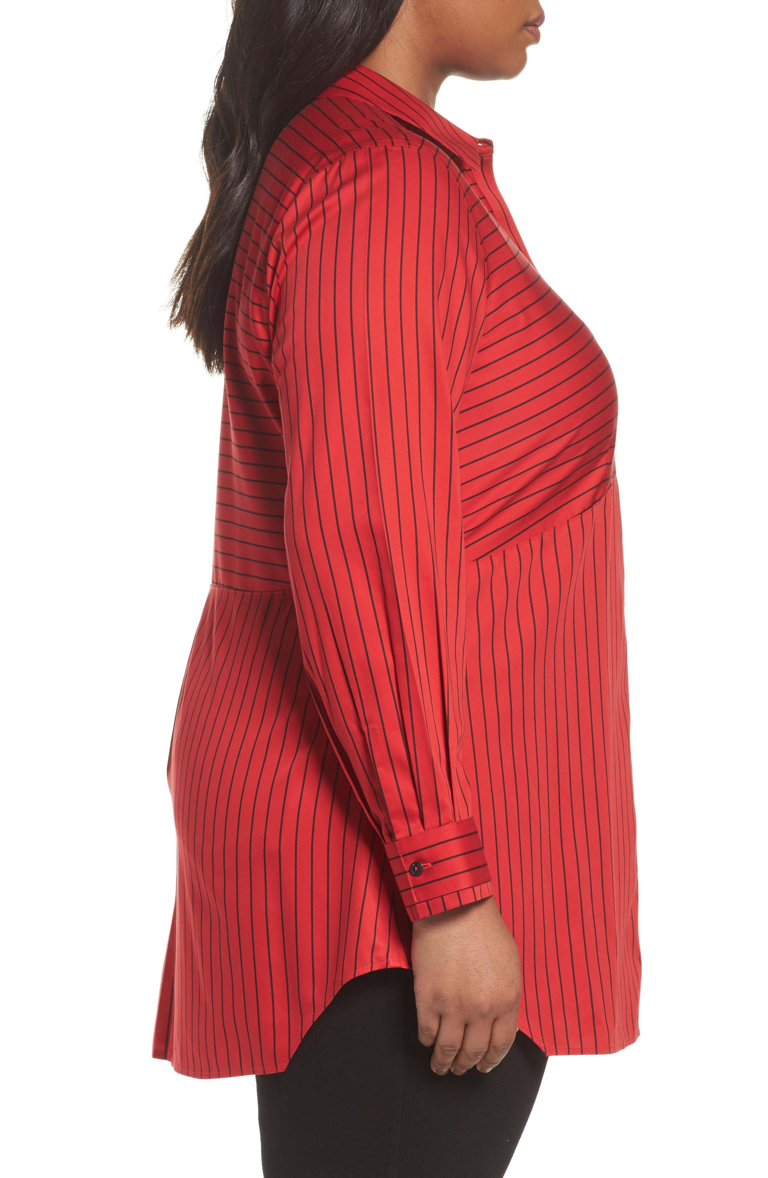 Alternate Image 3  - Foxcroft Gina Holiday Stripe Shirt (Plus Size)