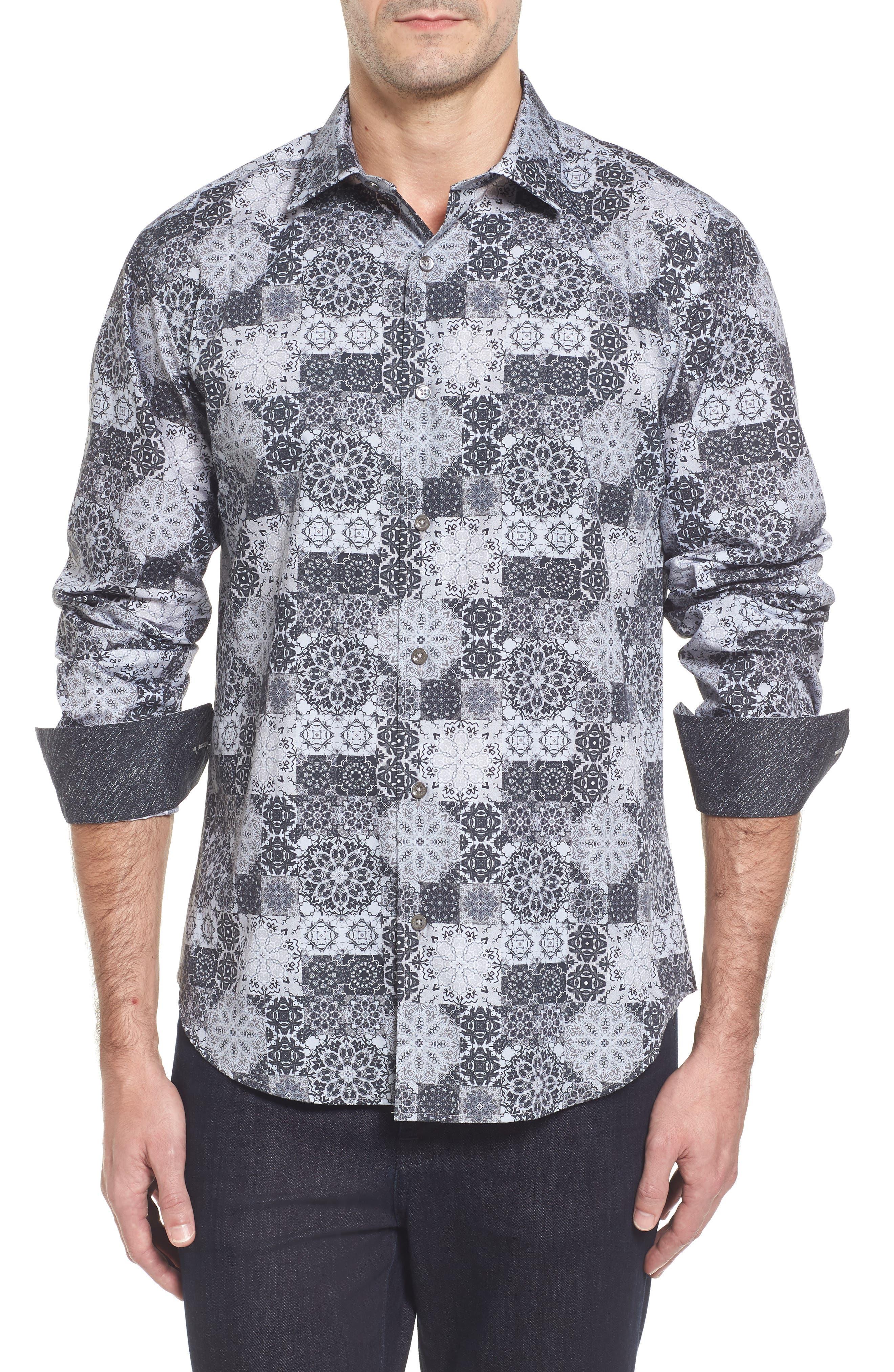 Slim Fit Collage Print Sport Shirt,                         Main,                         color, Platinum