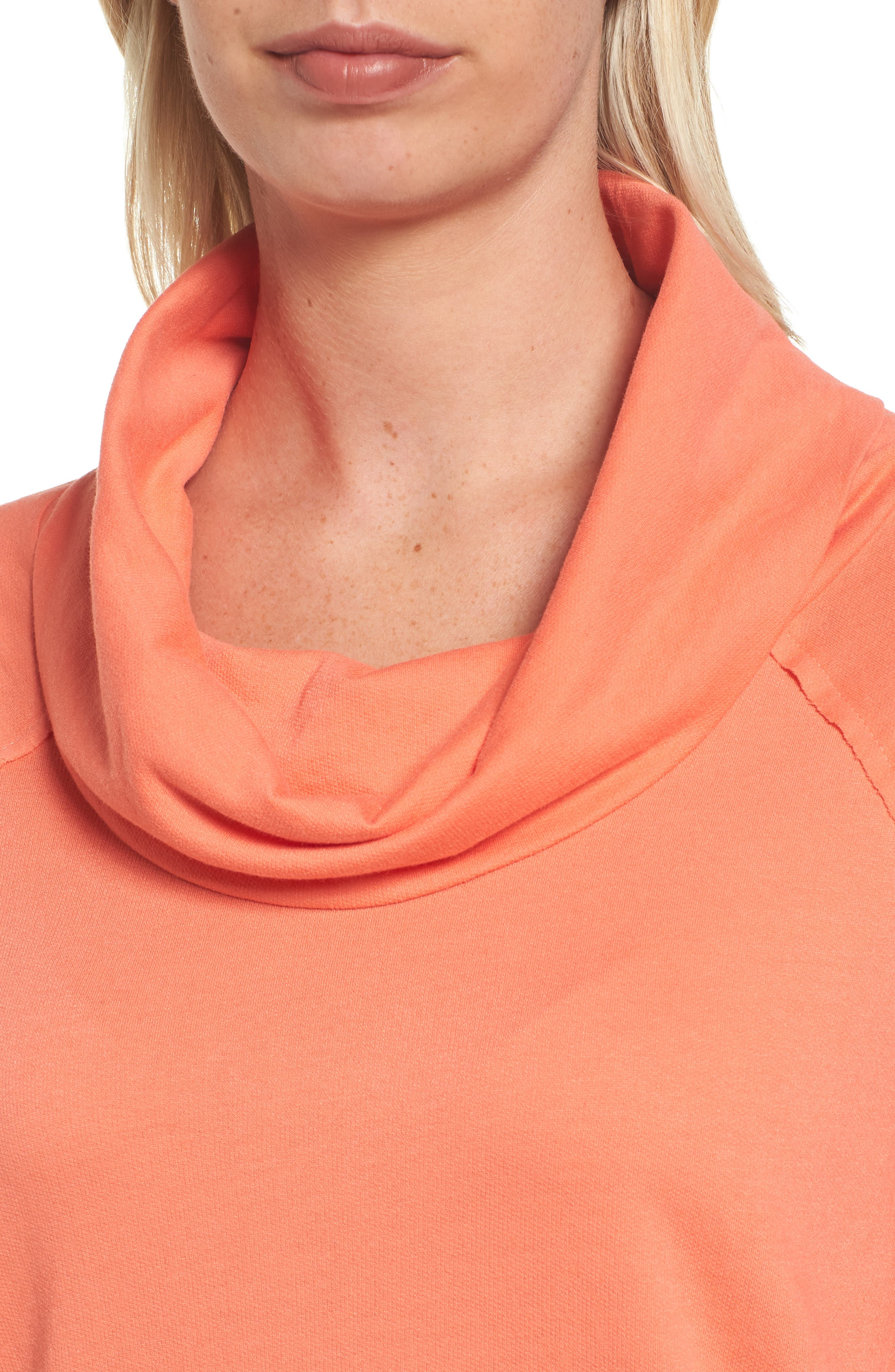 Cowl Neck Tunic Sweatshirt,                             Alternate thumbnail 4, color,                             Coral Sea