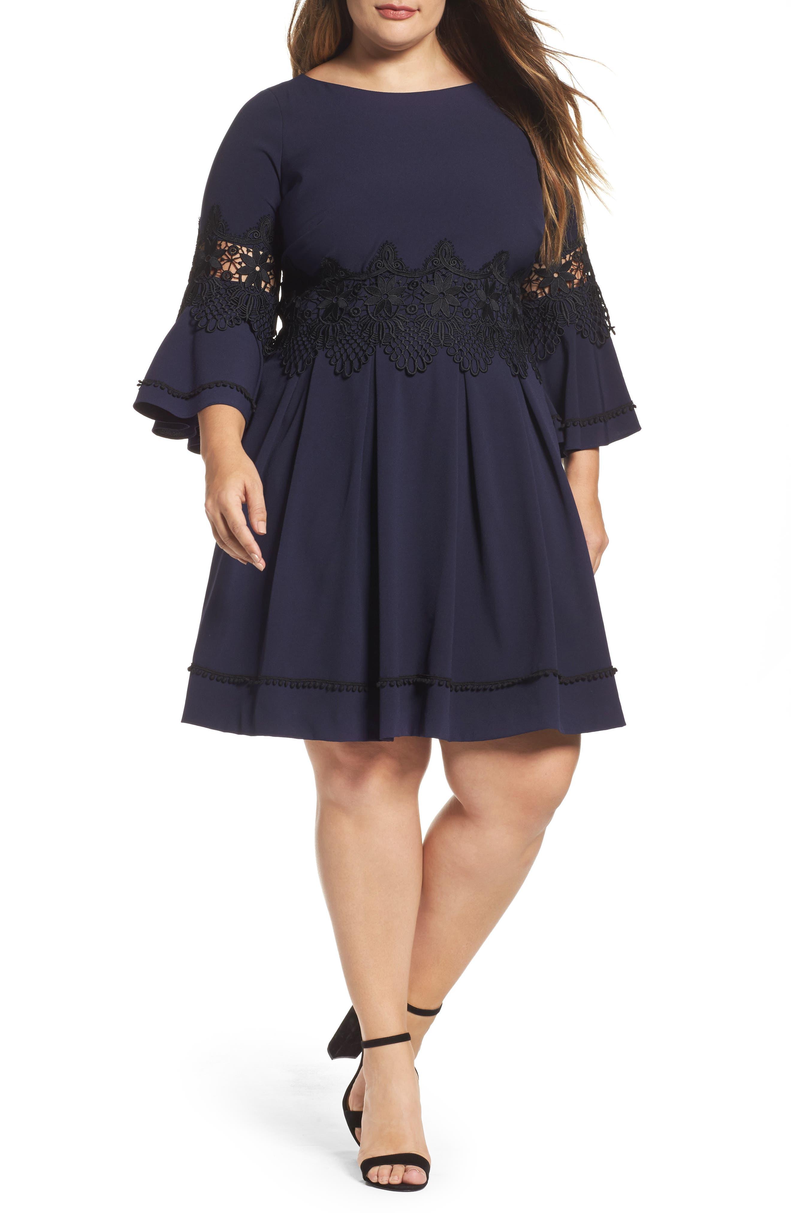 Lace Appliqué A-Line Dress,                         Main,                         color, Navy/ Black