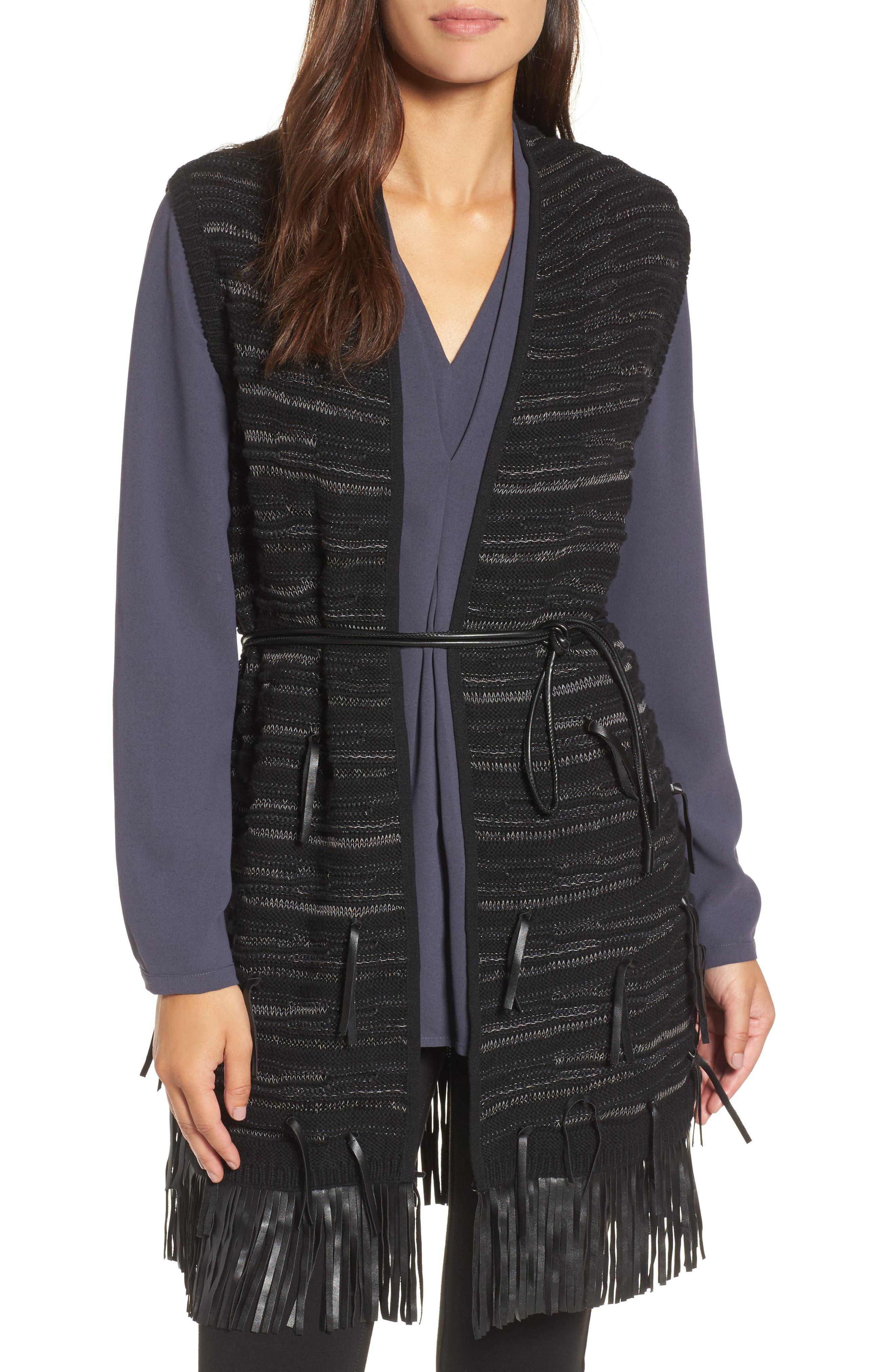 NIC+ZOE Fuse Faux Leather Fringe Vest