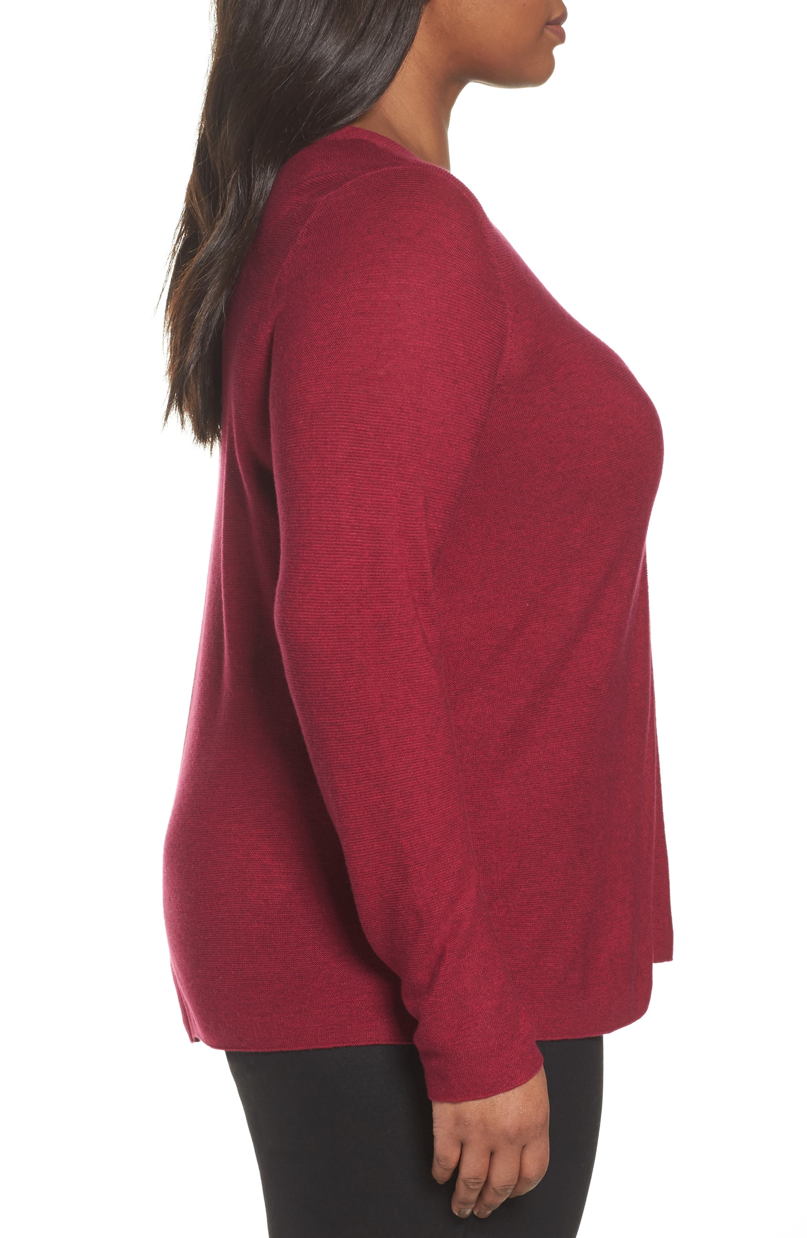 V-Neck Sweater,                             Alternate thumbnail 3, color,                             Hibiscus