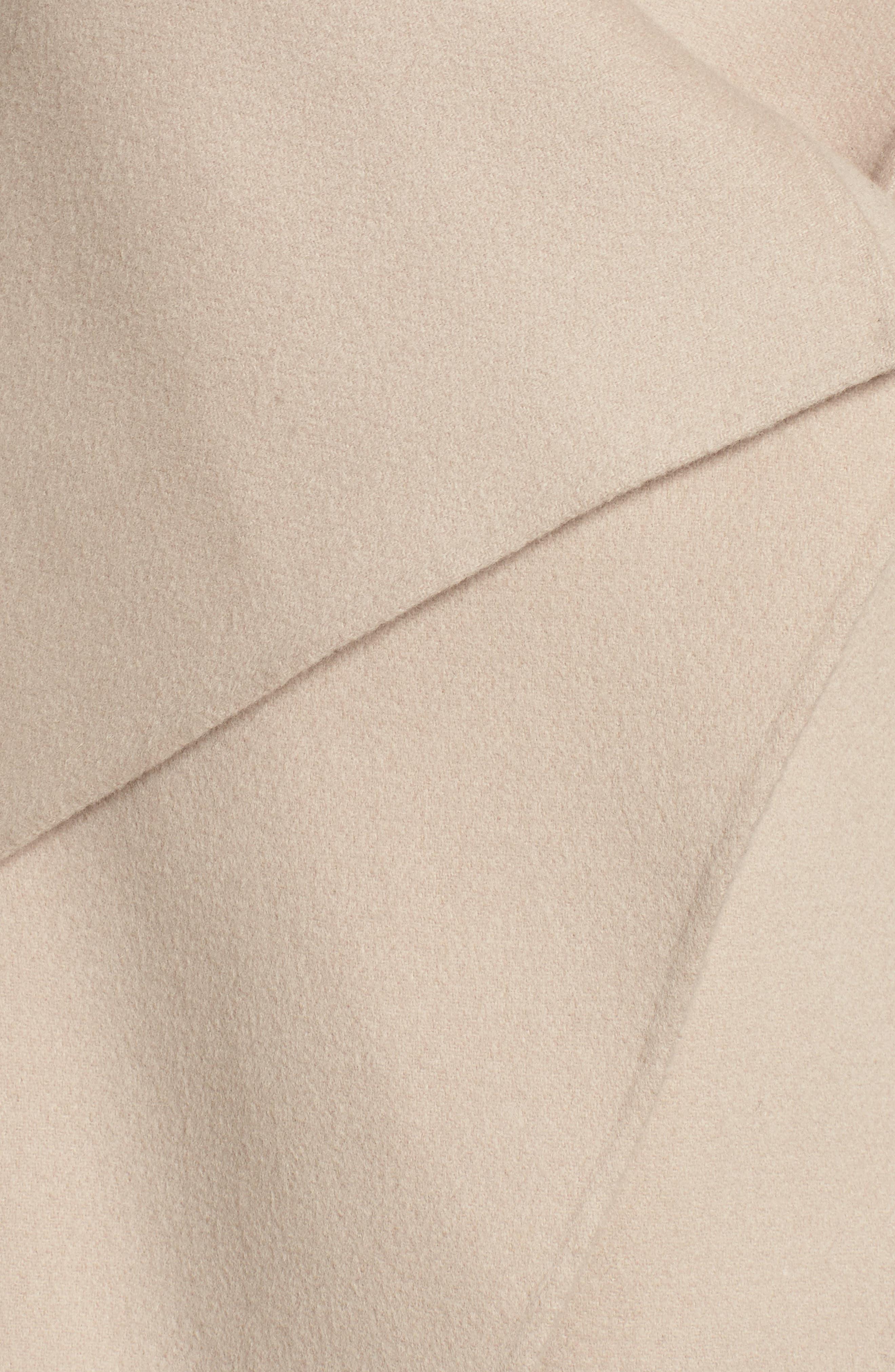 Vane Asymmetrical Leather Sleeve Coat,                             Alternate thumbnail 6, color,                             Sand