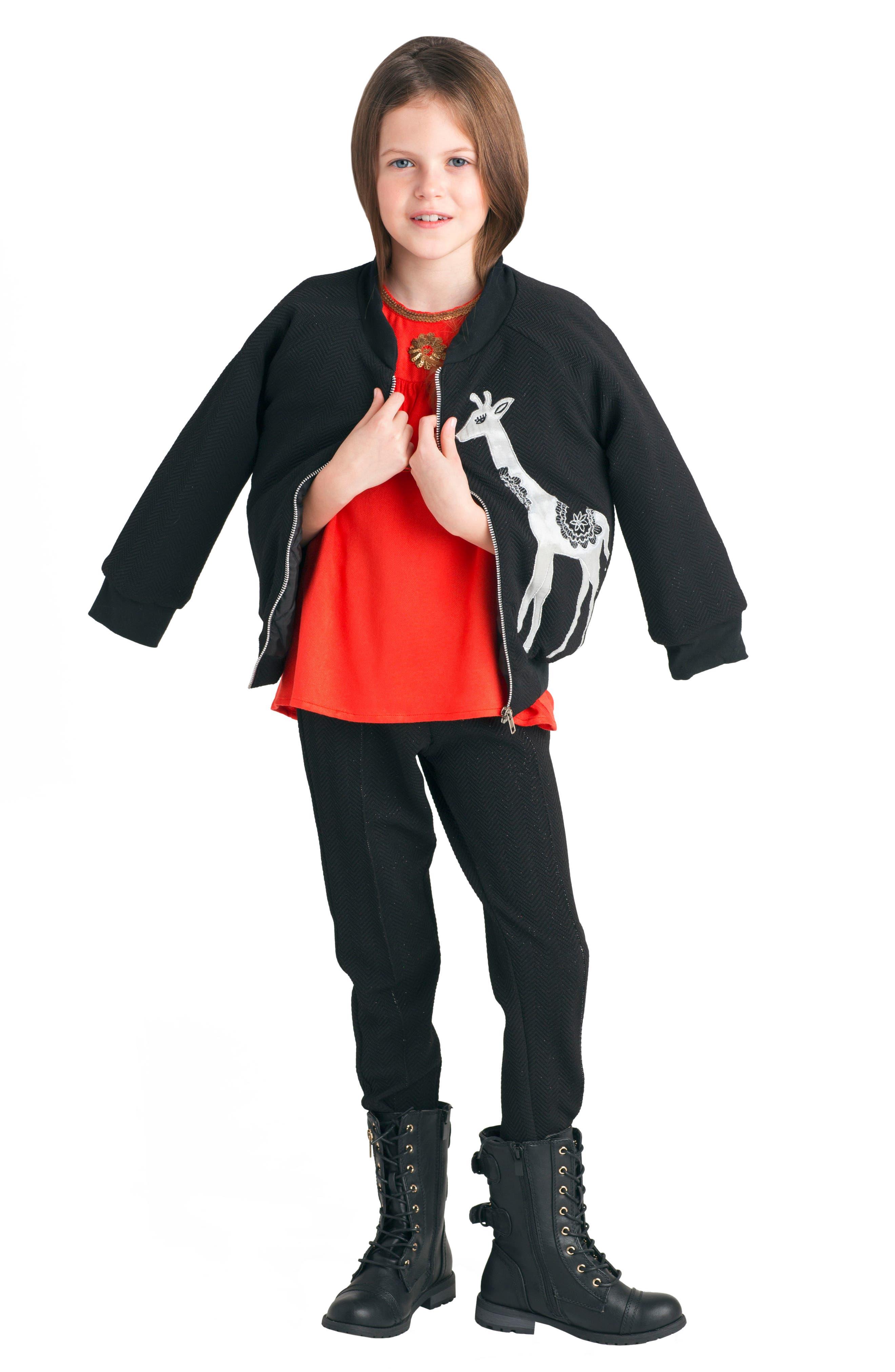 Gia Bomber Jacket,                             Alternate thumbnail 4, color,                             Black
