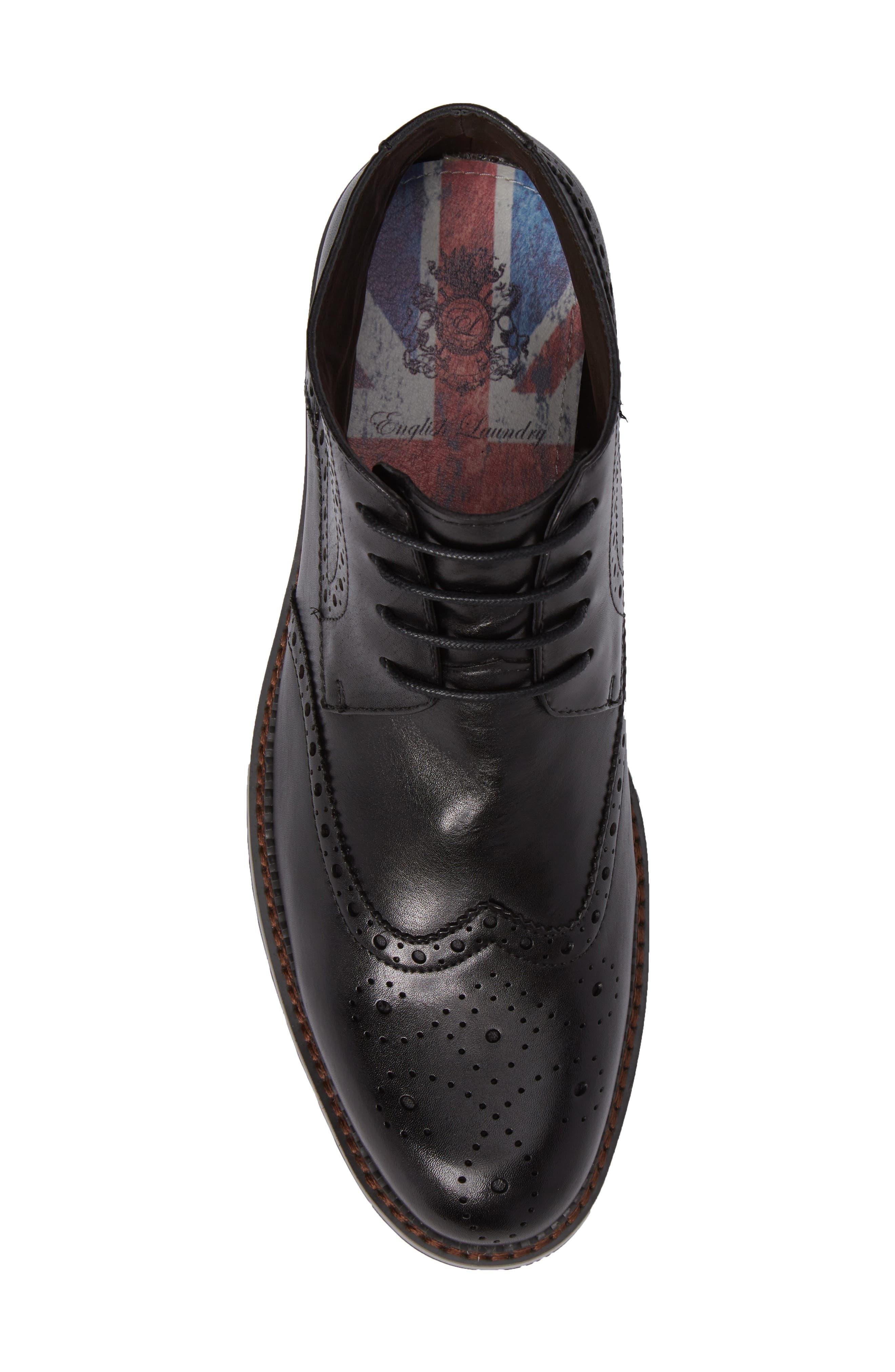 Ascot Wingtip Boot,                             Alternate thumbnail 5, color,                             Black Leather