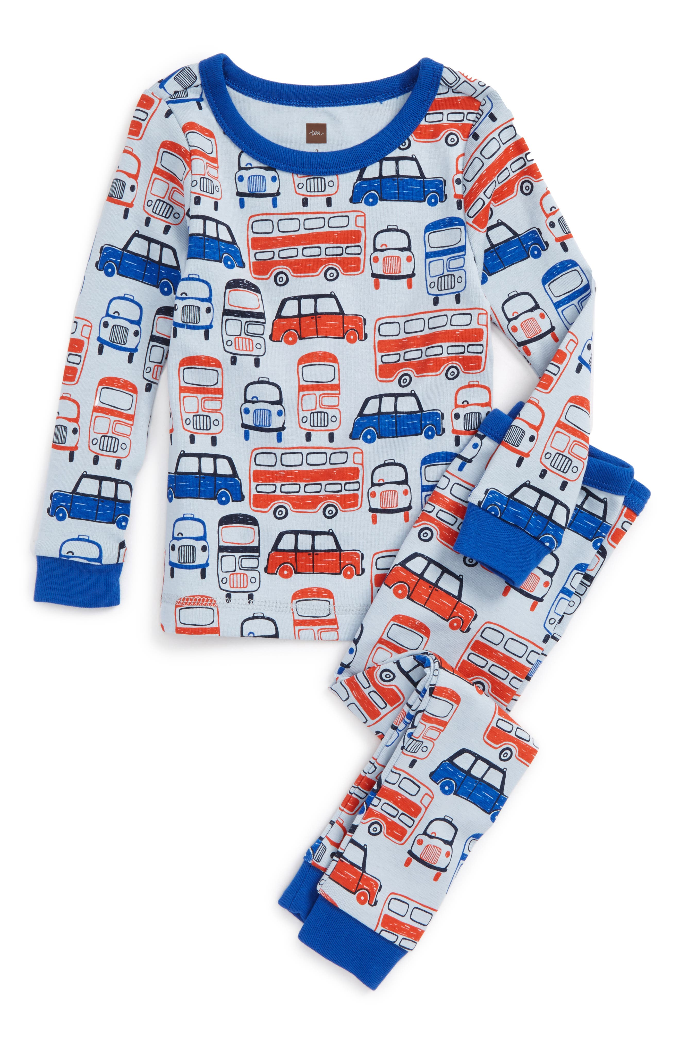 Main Image - Tea Collection Waverley Station Fitted Two-Piece Pajamas (Toddler Boys, Little Boys & Big Boys)