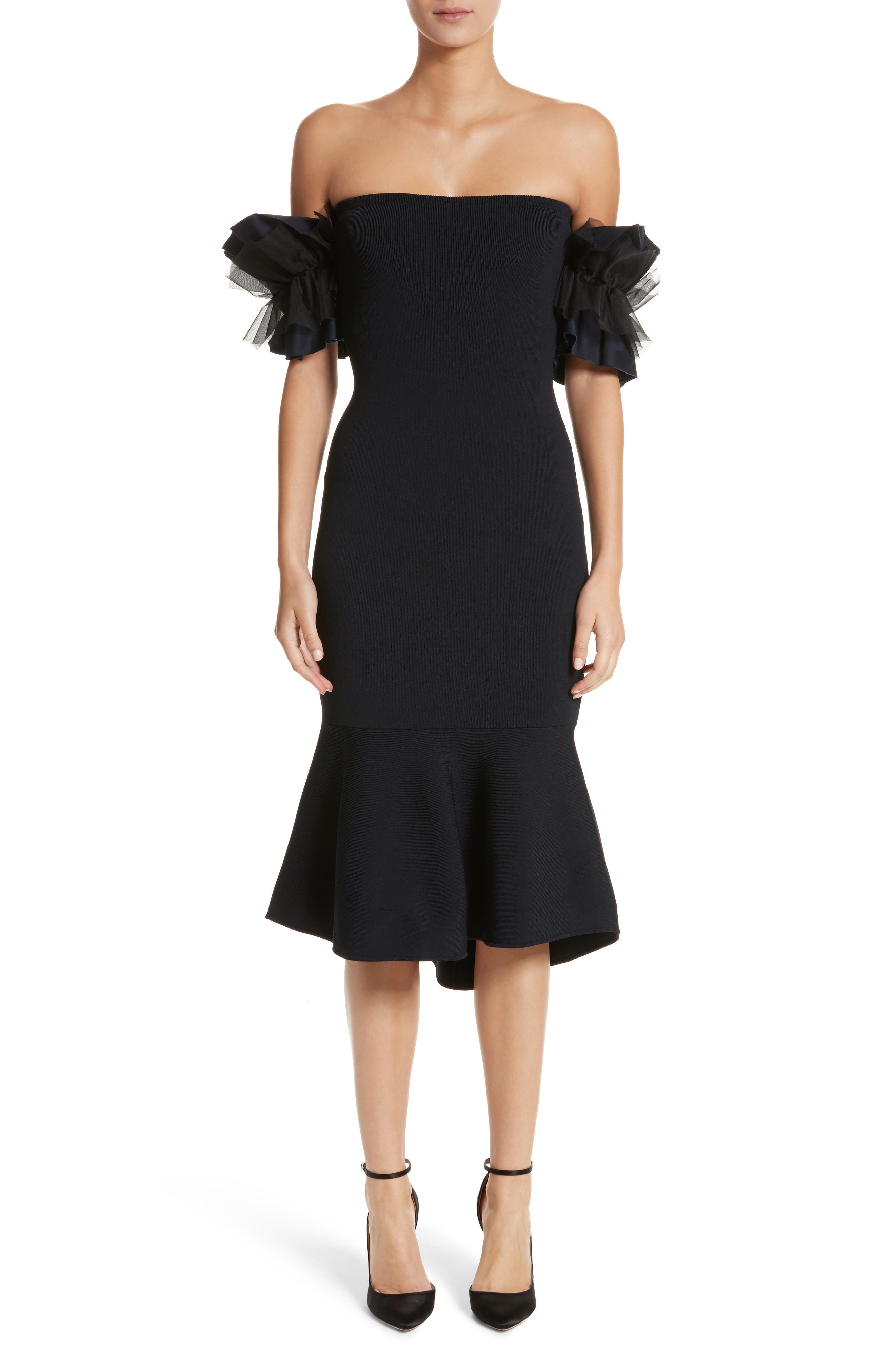 Noir Ruffle Sleeve Off the Shoulder Dress,                         Main,                         color, Midnight
