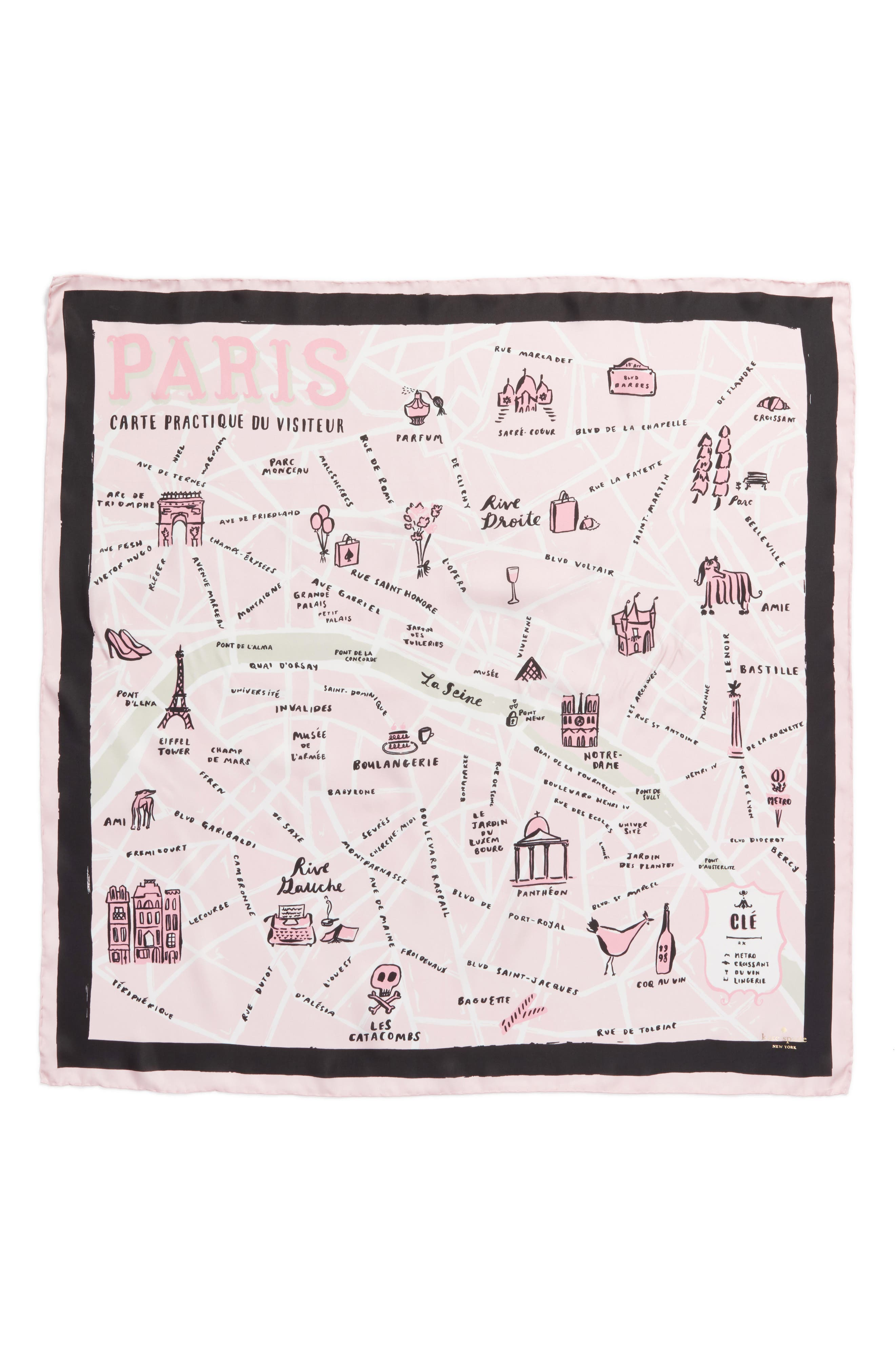 paris map silk square scarf,                             Alternate thumbnail 2, color,                             Cream