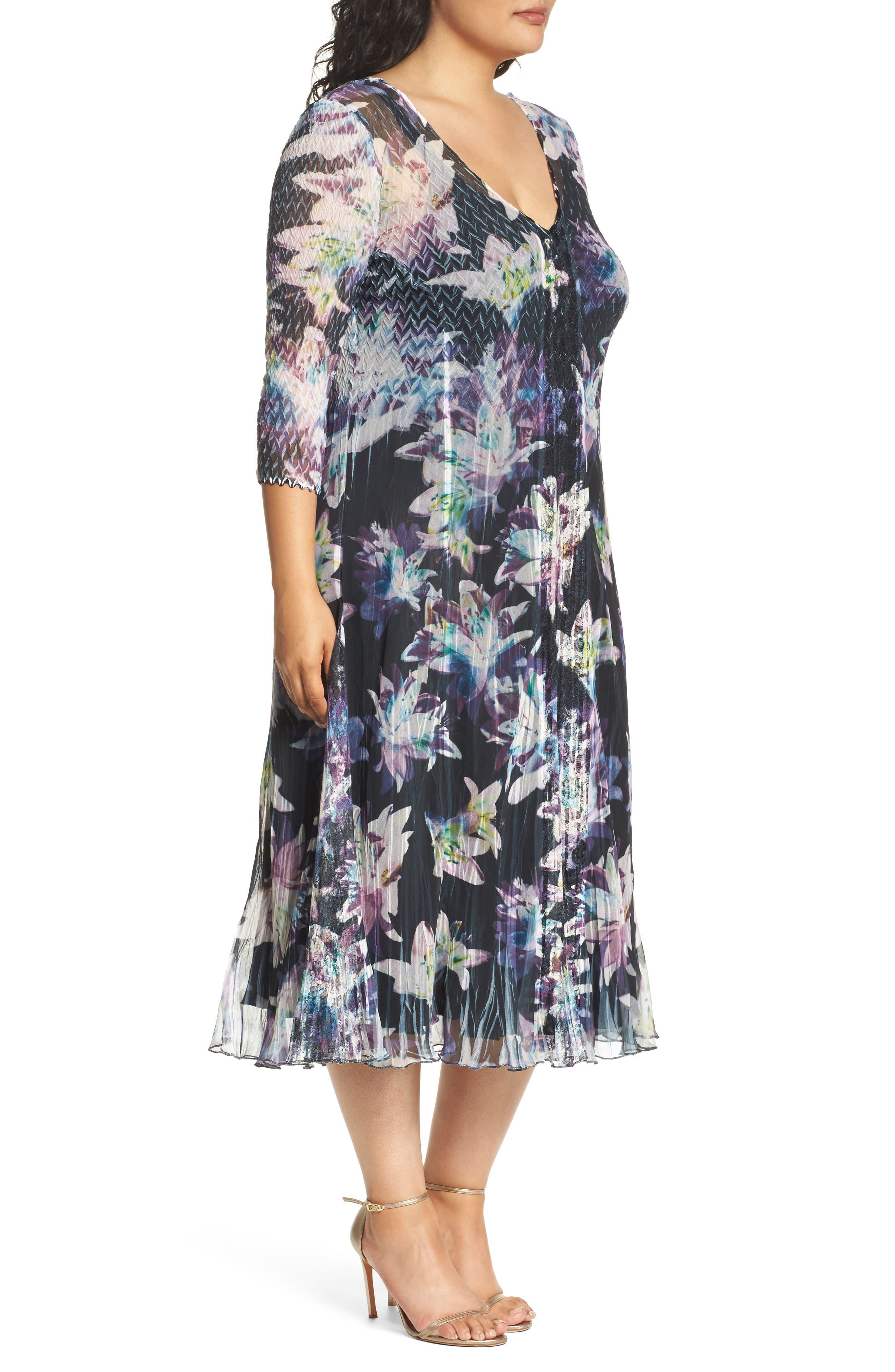 Alternate Image 3  - Komarov Floral Charmeuse & Chiffon A-Line Dress (Plus Size)