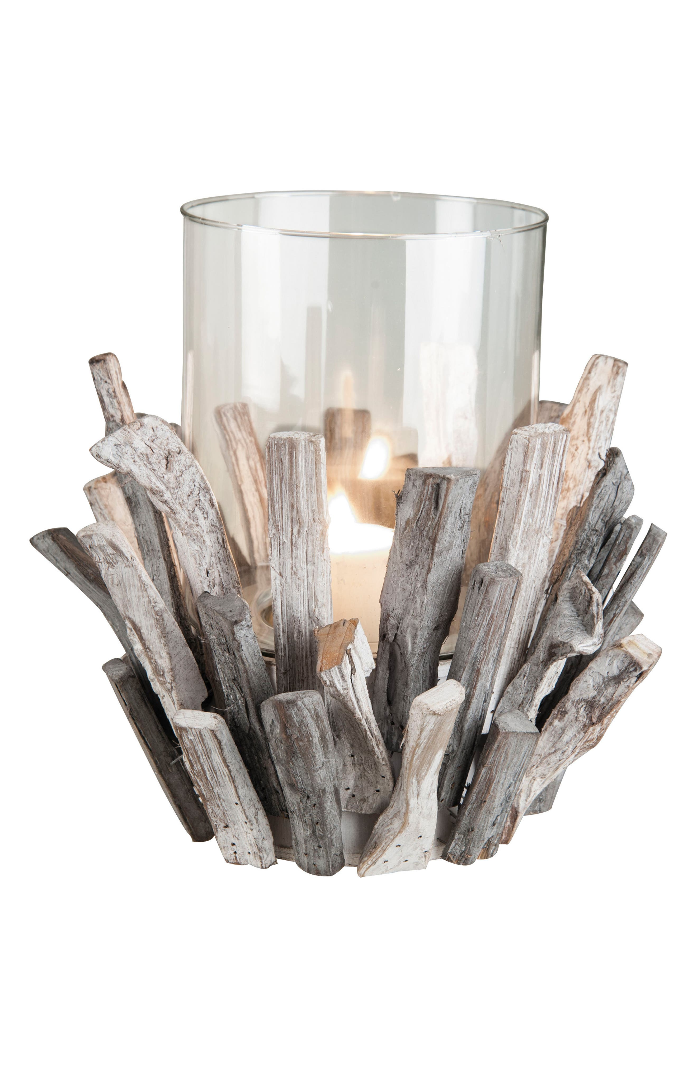 Foreside Wood & Glass Candle Holder
