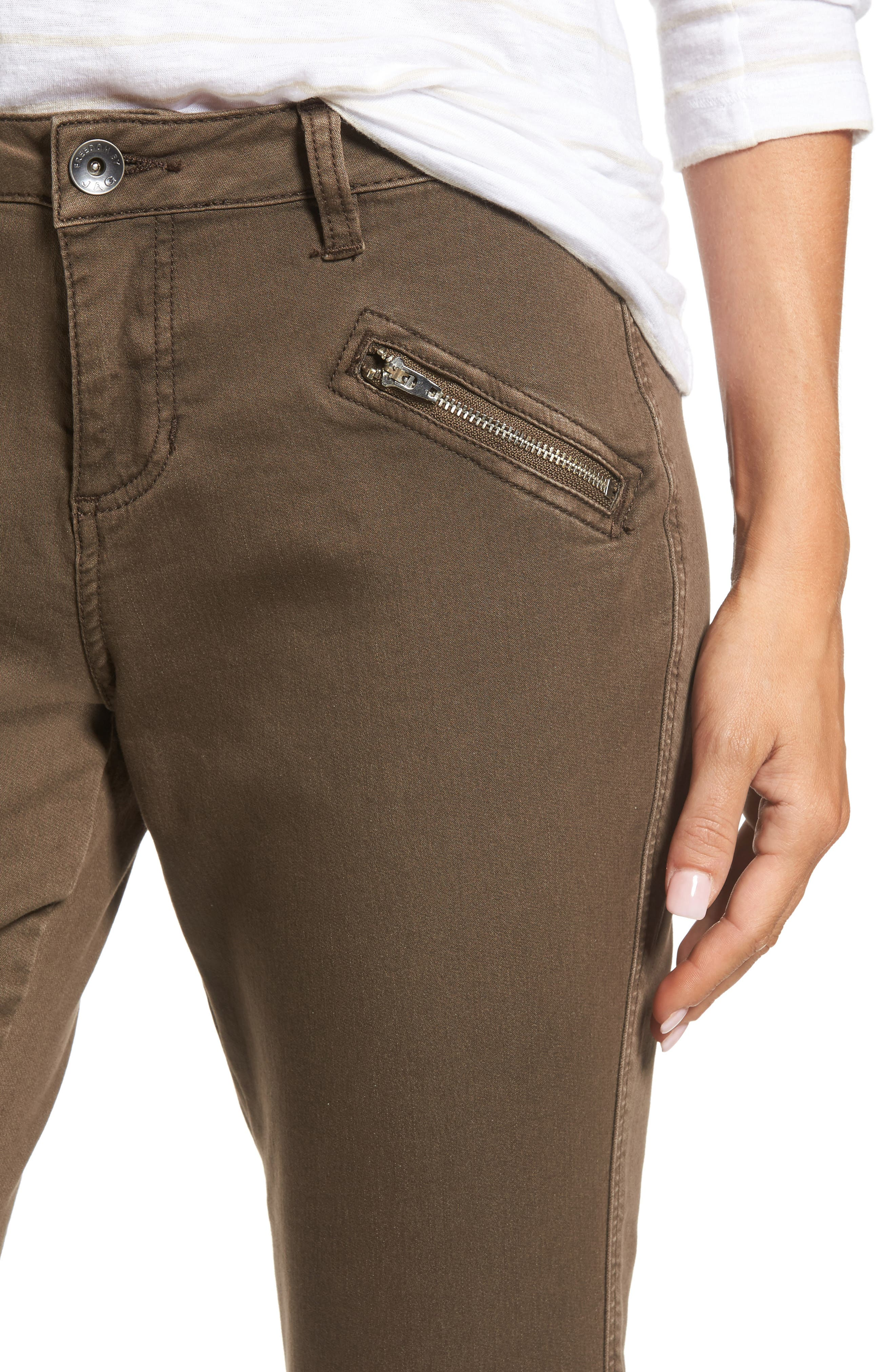 Ryan Knit Skinny Jeans,                             Alternate thumbnail 4, color,                             Saddle