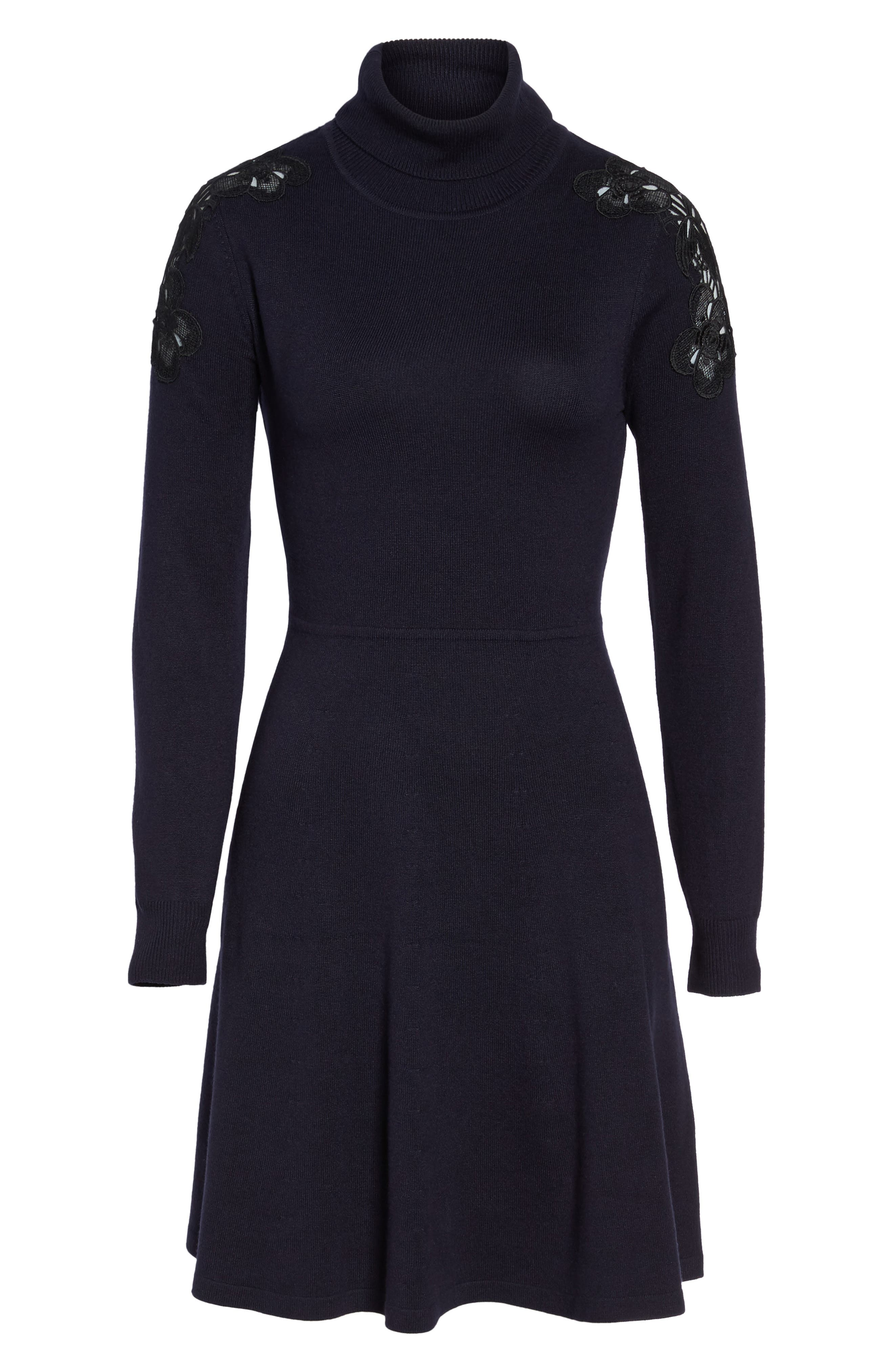 Lace Shoulder Turtleneck Sweater Dress,                             Alternate thumbnail 6, color,                             Navy