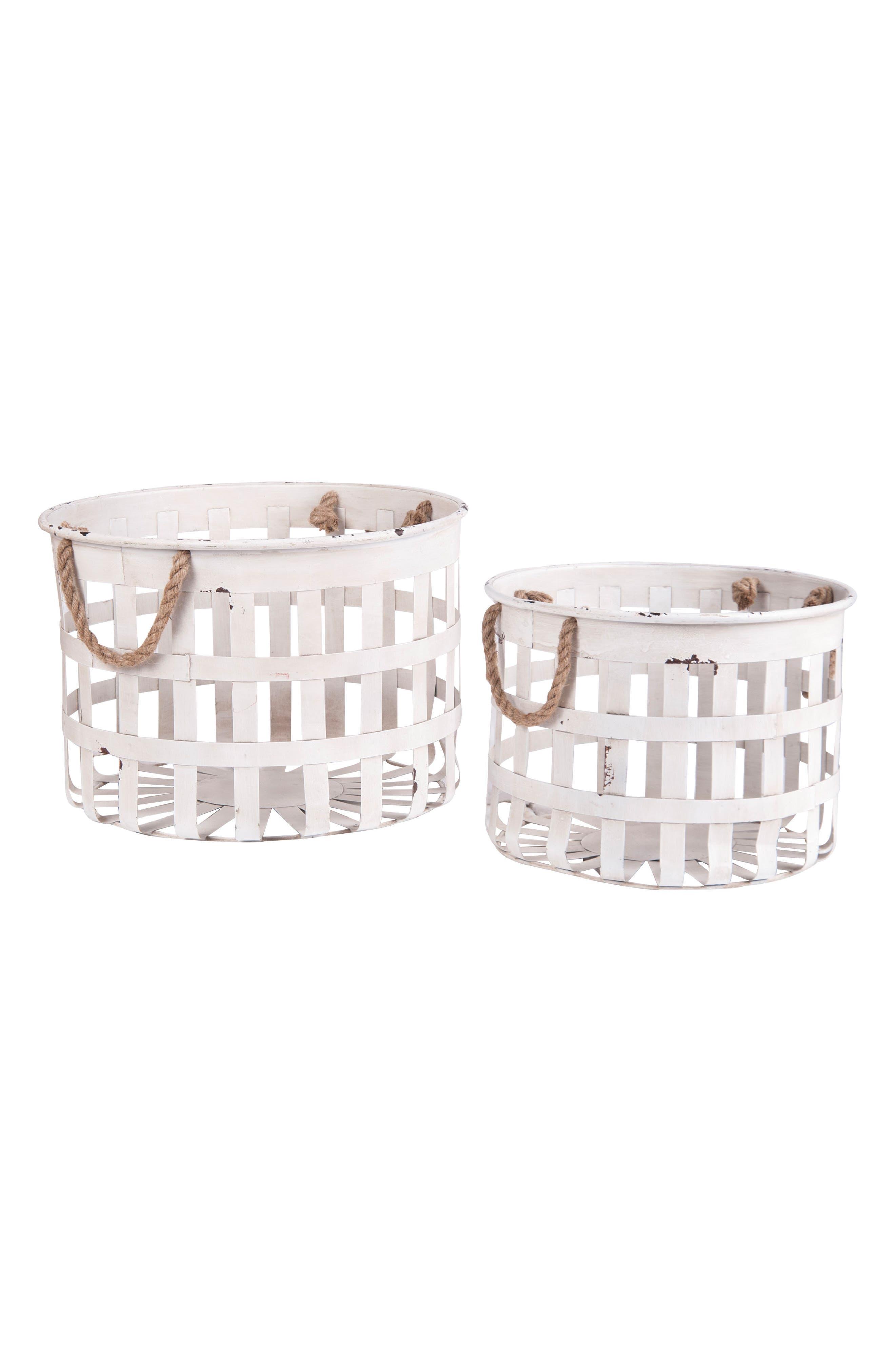 Set of 2 Nesting Baskets,                             Main thumbnail 1, color,                             Metal/ Rope