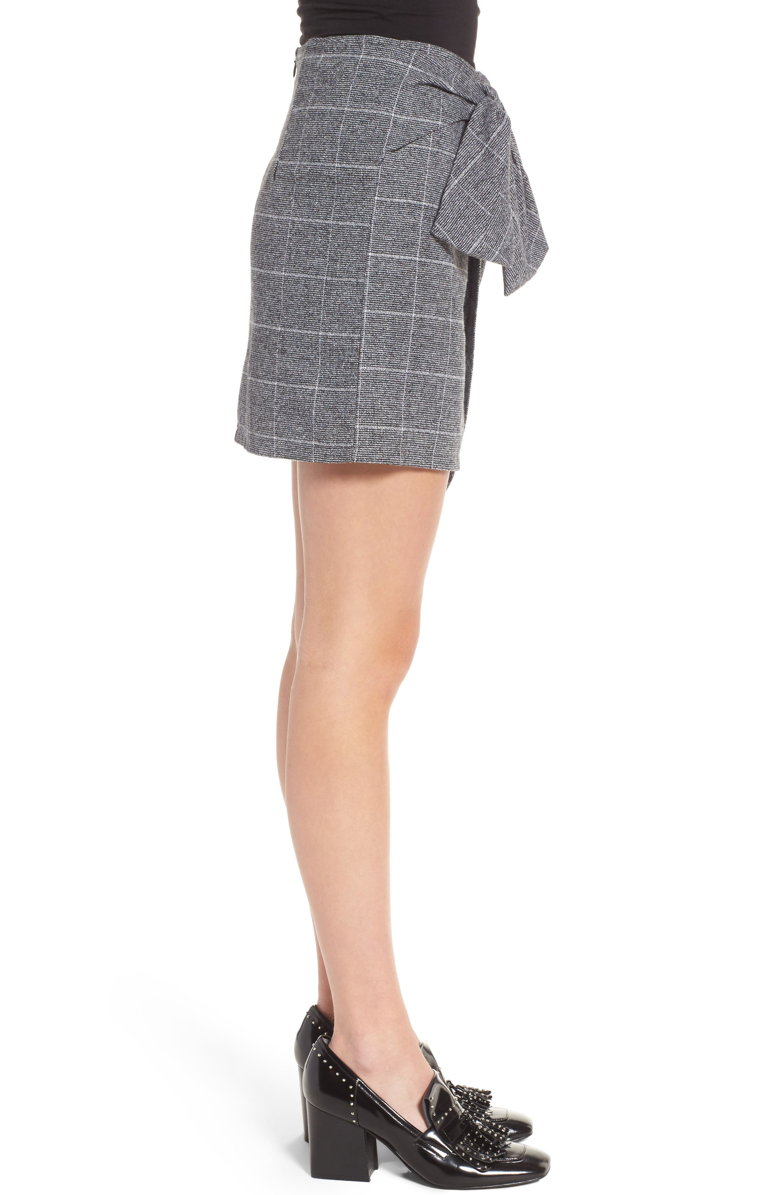 Faux Wrap Miniskirt,                             Alternate thumbnail 3, color,                             Black Plaid