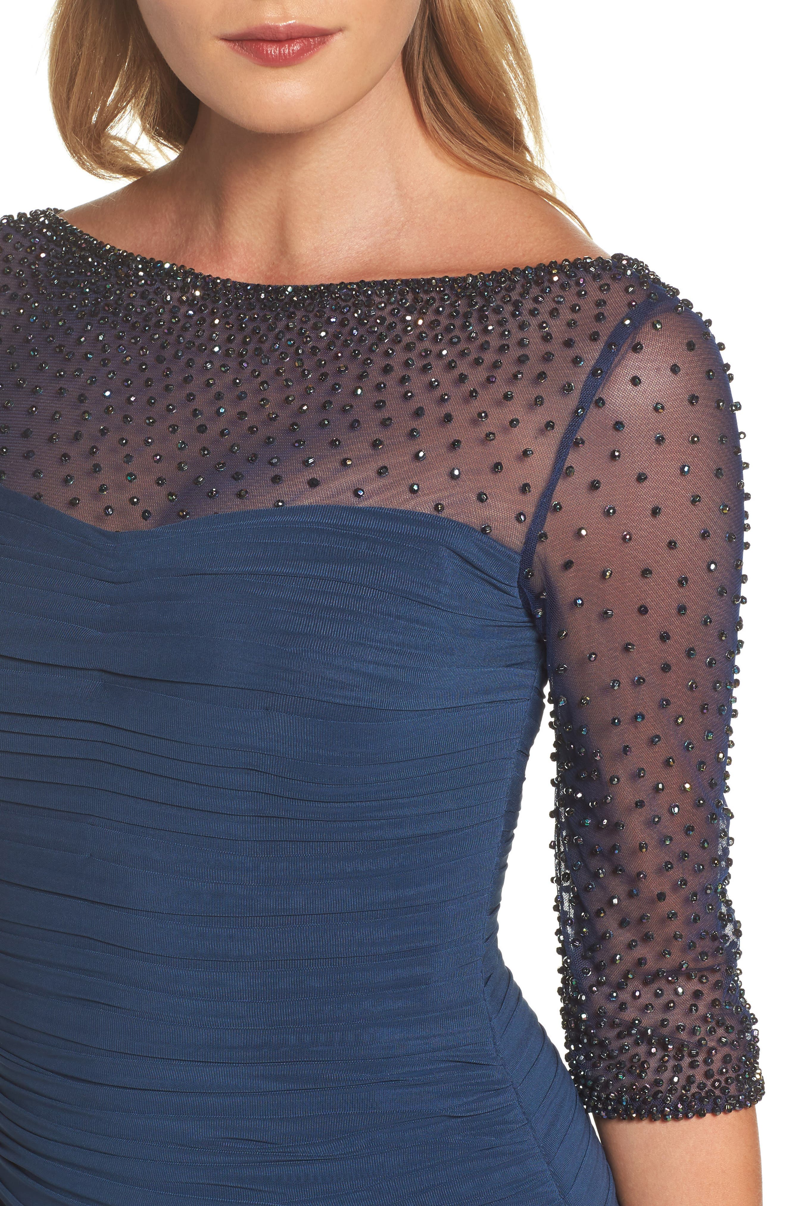 Embellished Mesh Ruched Jersey Gown,                             Alternate thumbnail 4, color,                             Navy