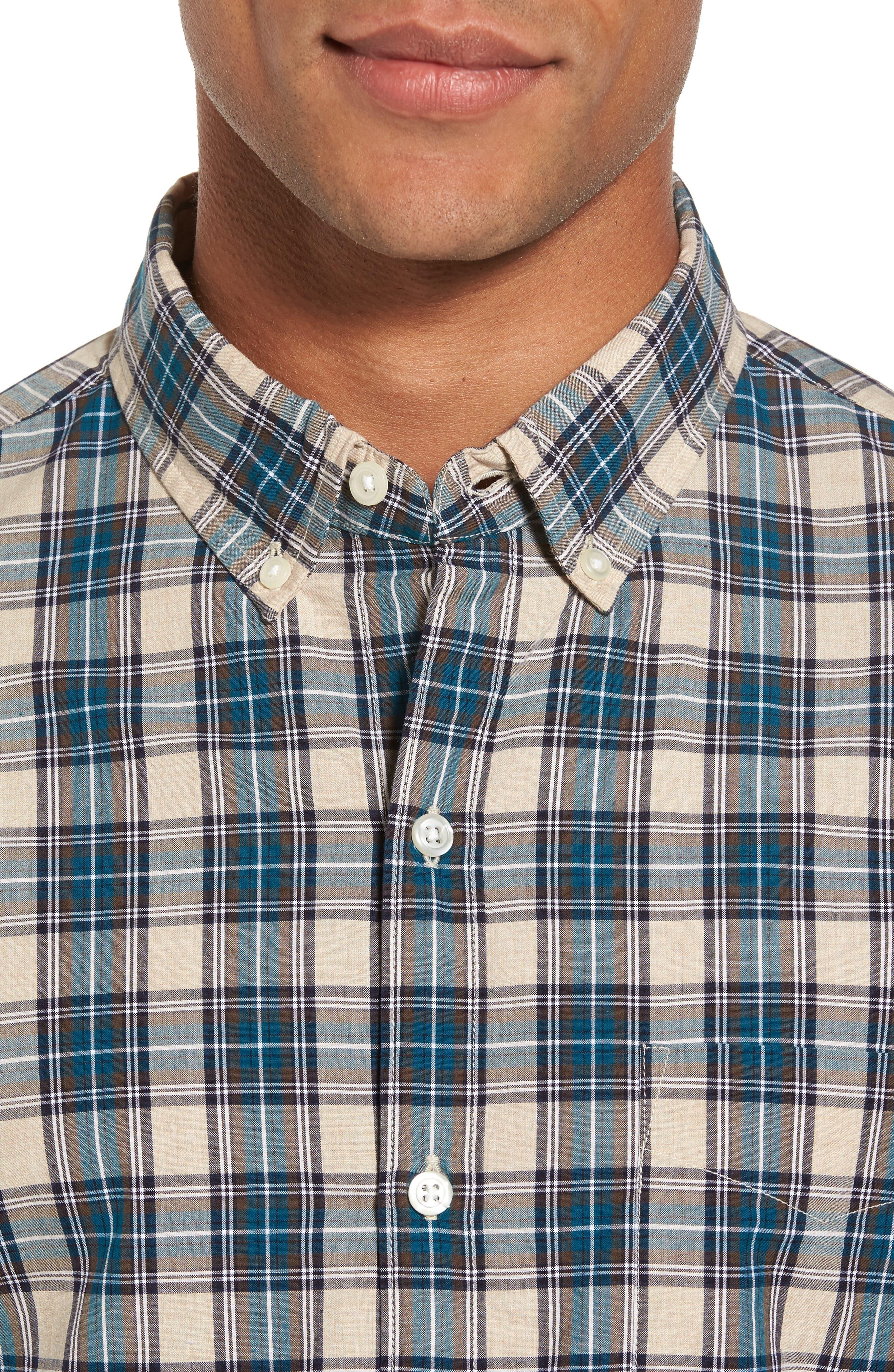 Washed Slim Fit Plaid Sport Shirt,                             Alternate thumbnail 4, color,                             Blue Plaid