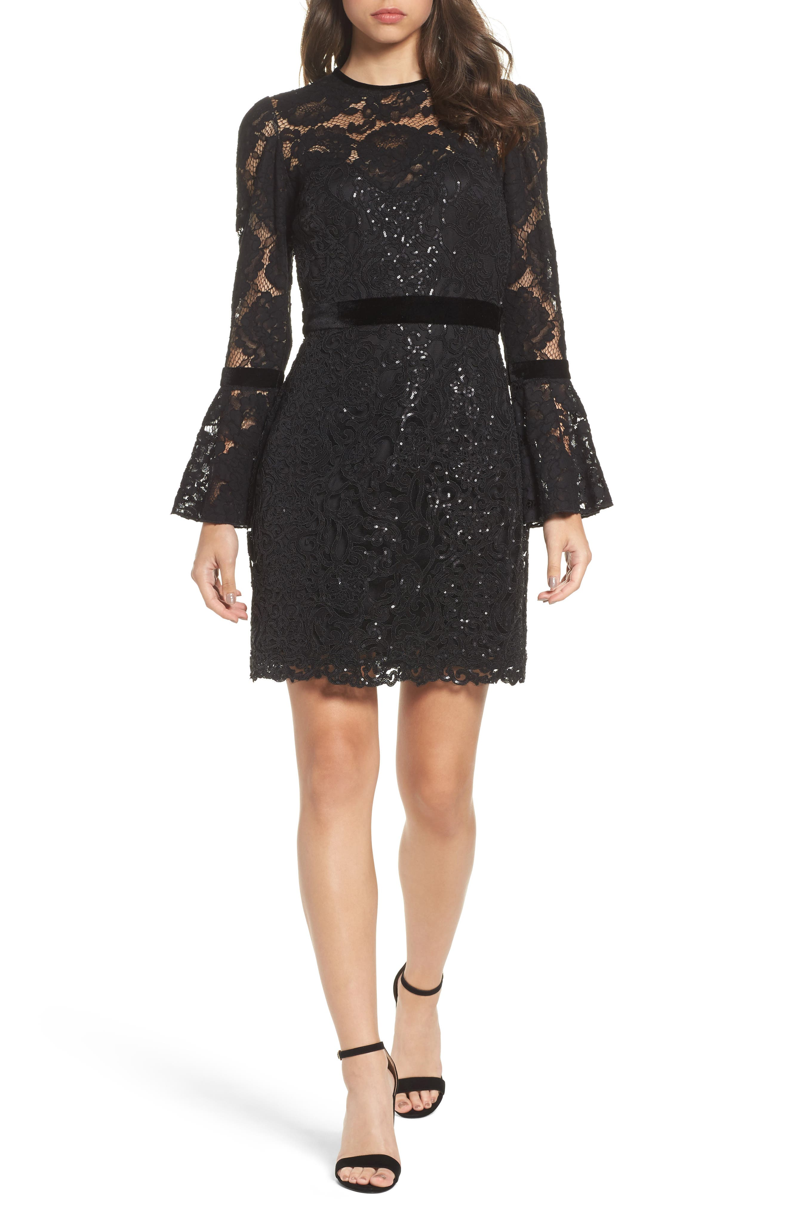 Bell Sleeve Rose & Sequin Lace Dress,                         Main,                         color, Black
