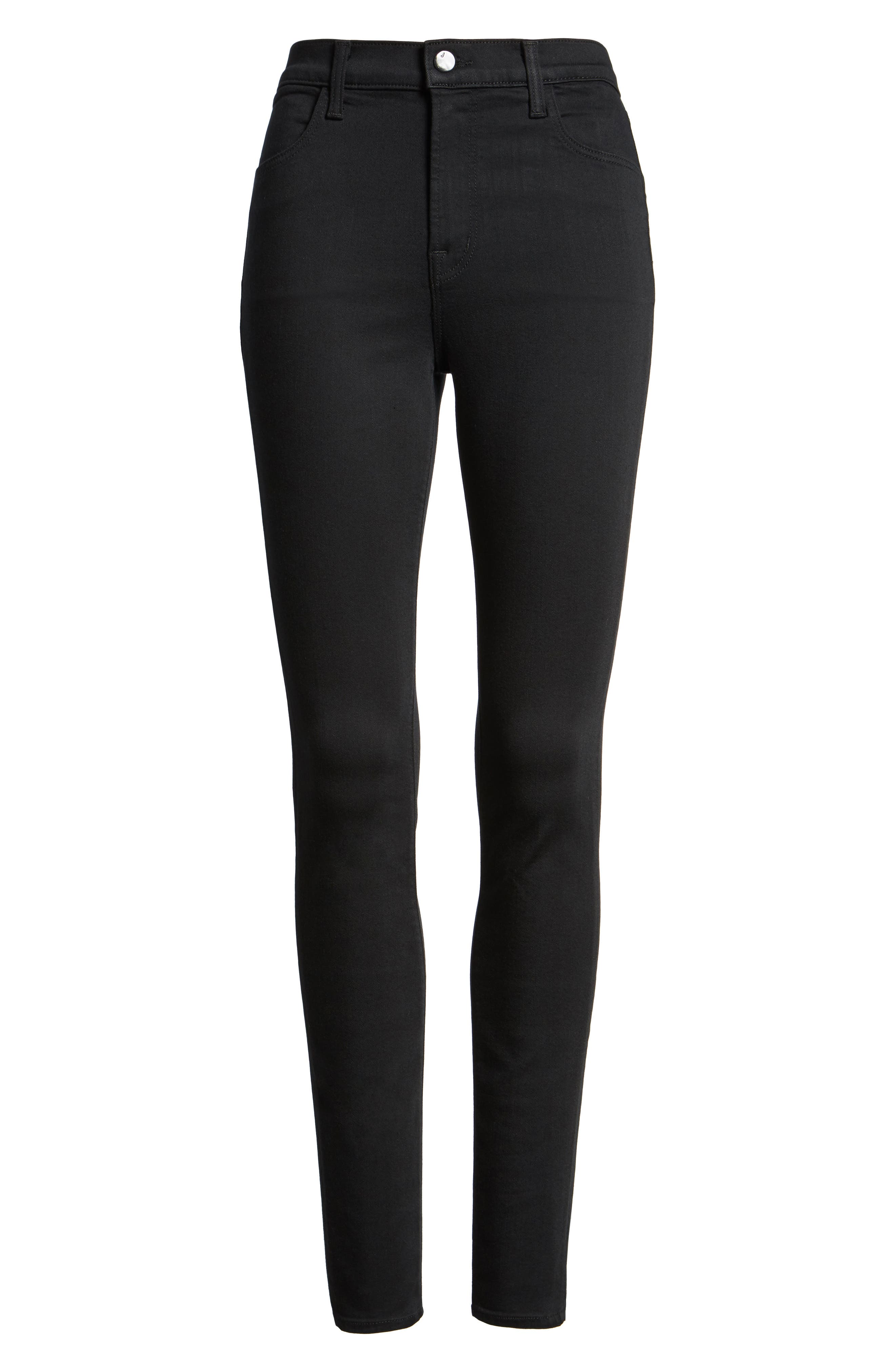 Alternate Image 6  - J Brand Maria High Waist Super Skinny Jeans (Seriously Black)