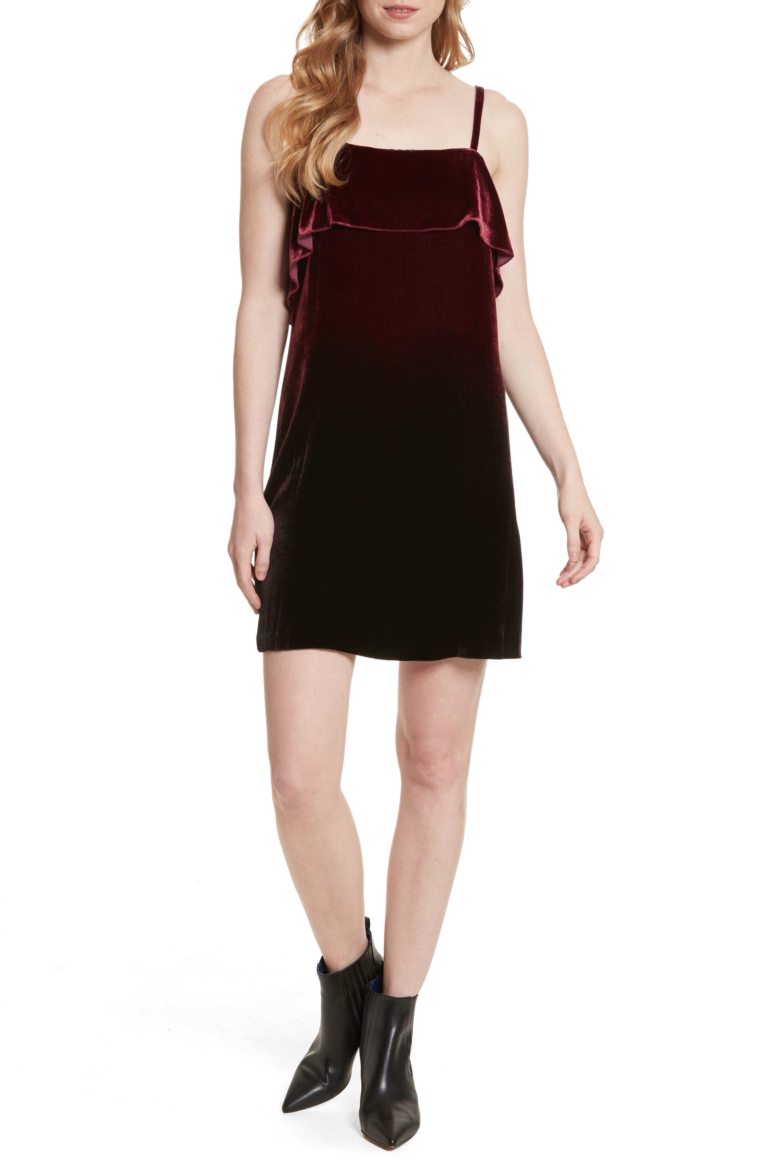 Ruffle Bodice Velvet Dress,                             Main thumbnail 1, color,                             Wine