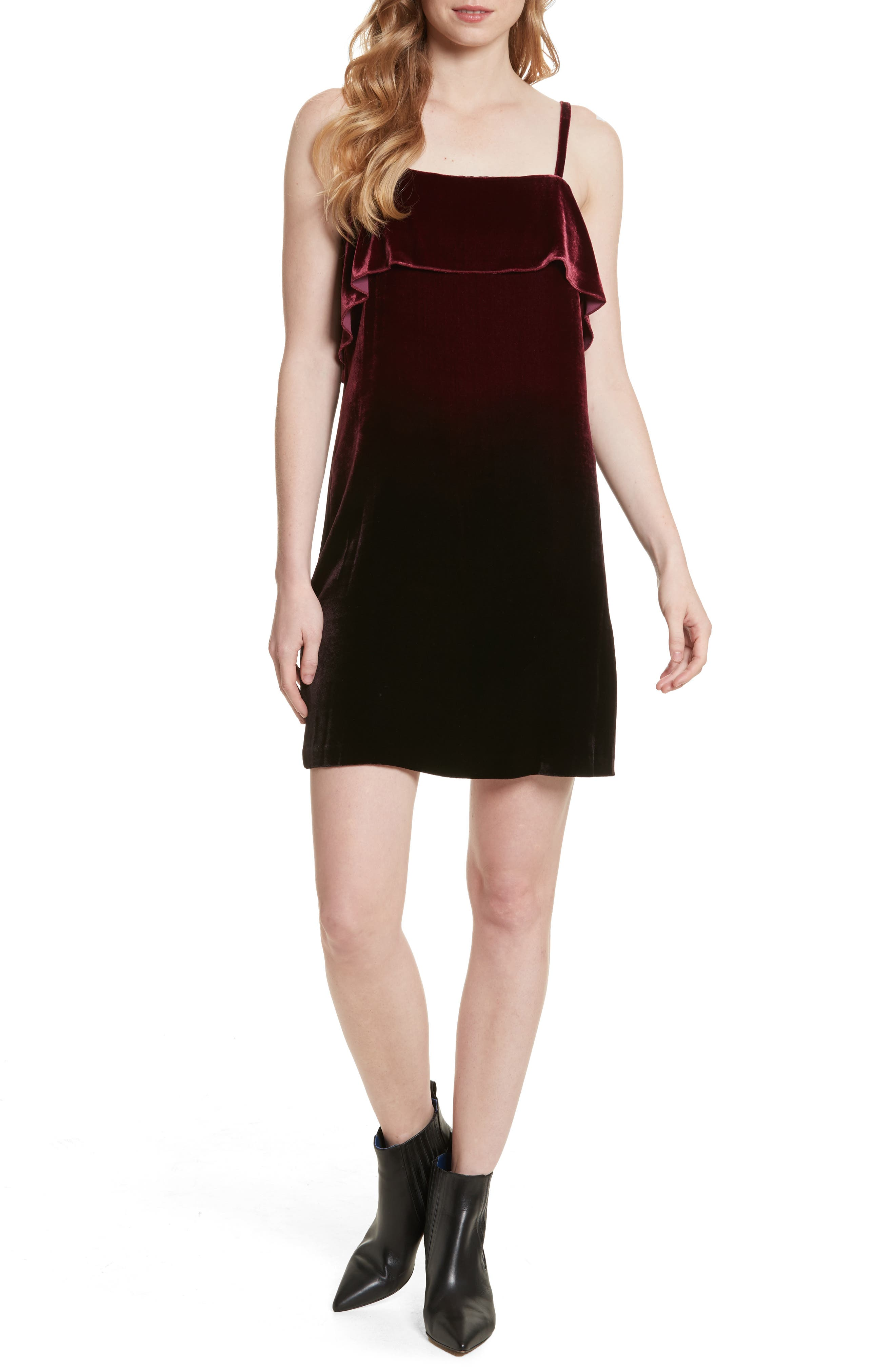 Ruffle Bodice Velvet Dress,                         Main,                         color, Wine